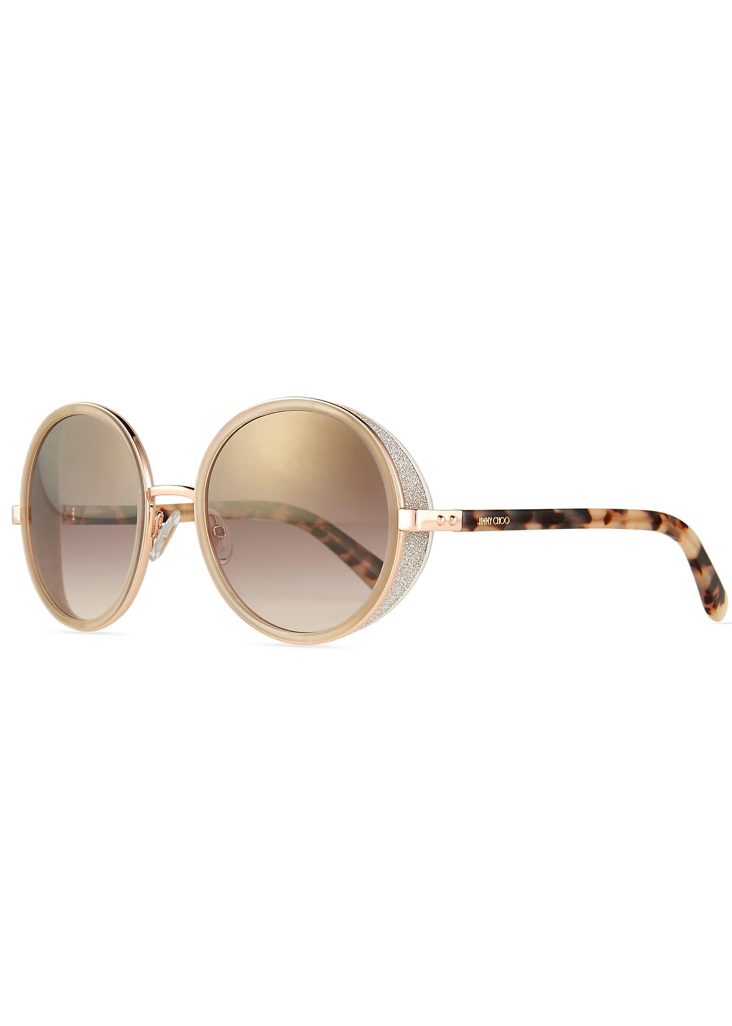 Jimmy Choo Andie Round Glitter-Trim Sunglasses