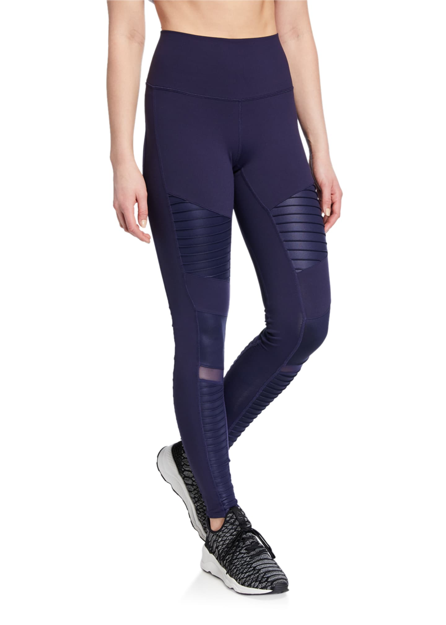 Alo Yoga High-Waist Moto Sport Leggings with Mesh