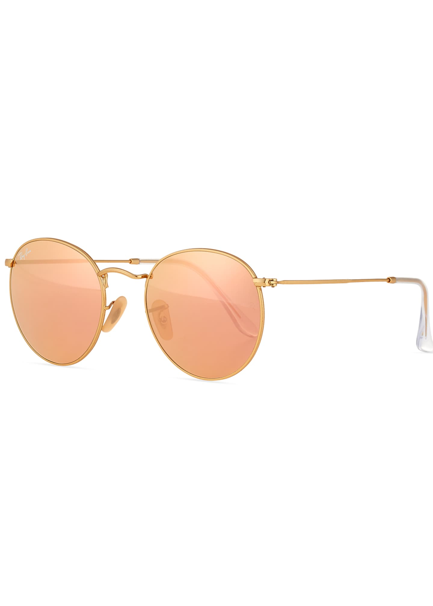 Ray-Ban Mirrored Round Metal Sunglasses, Gold/Pink