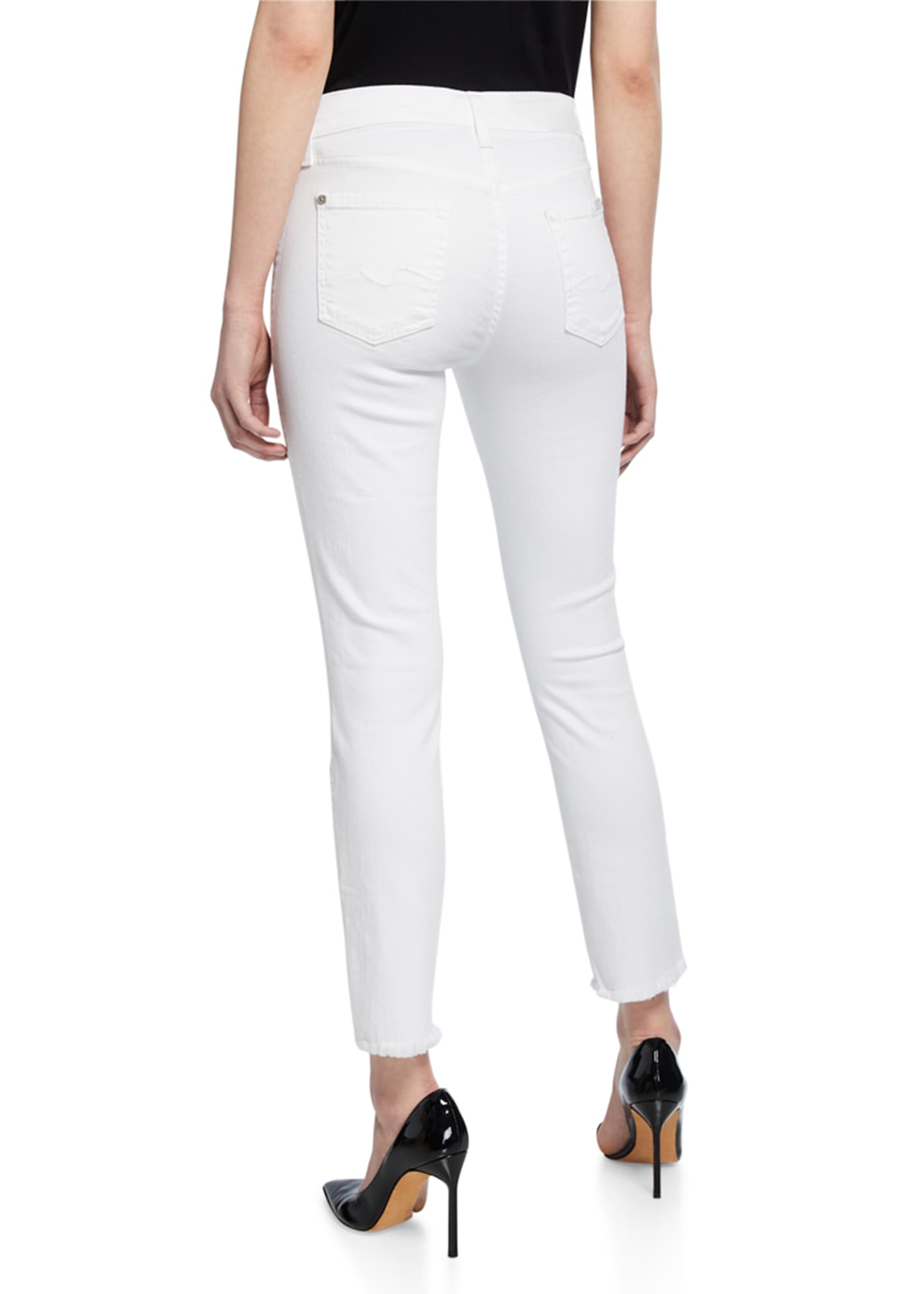 Image 2 of 3: Roxanne Raw-Edge Ankle Skinny Jeans, White