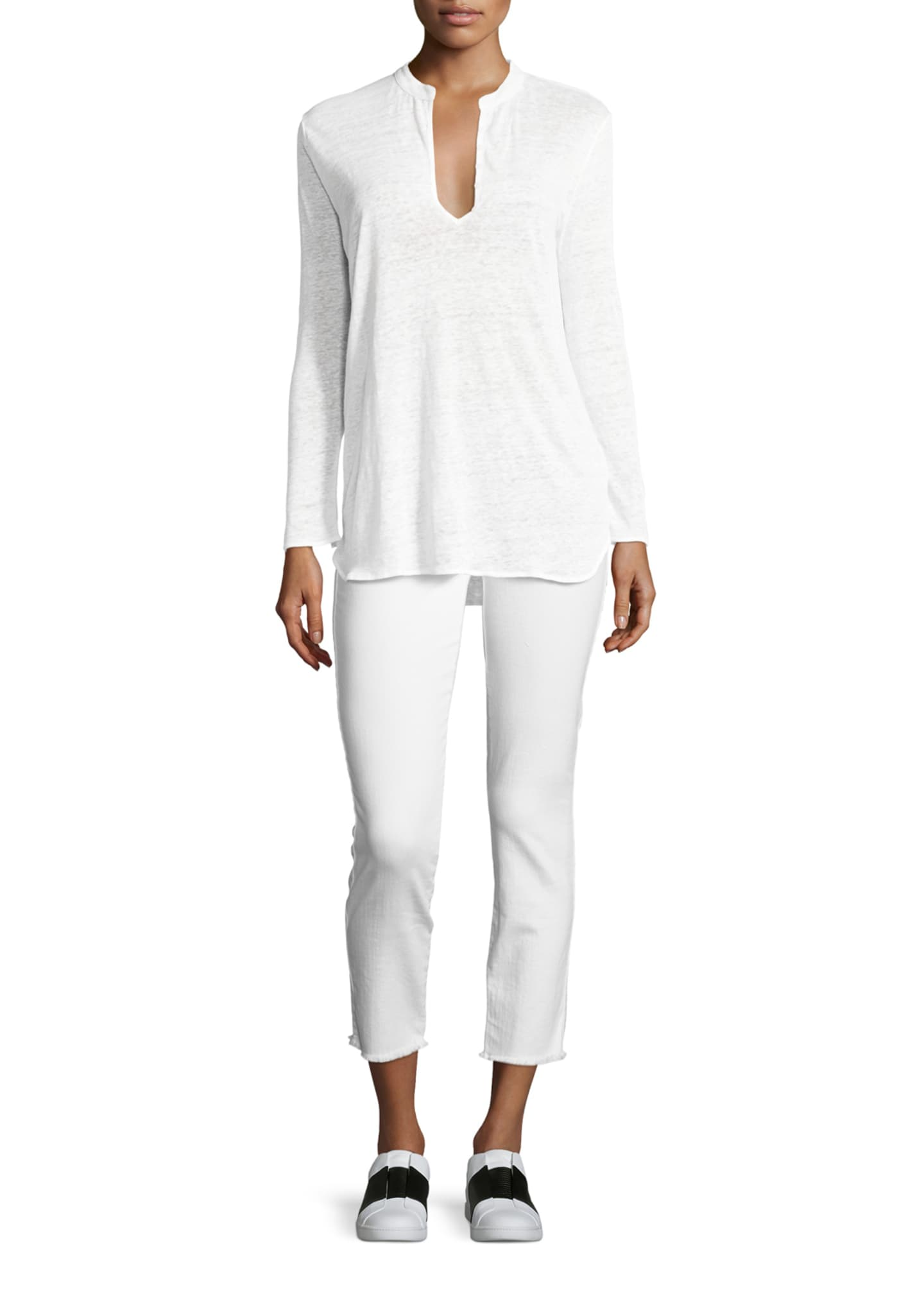 Image 3 of 3: Roxanne Raw-Edge Ankle Skinny Jeans, White