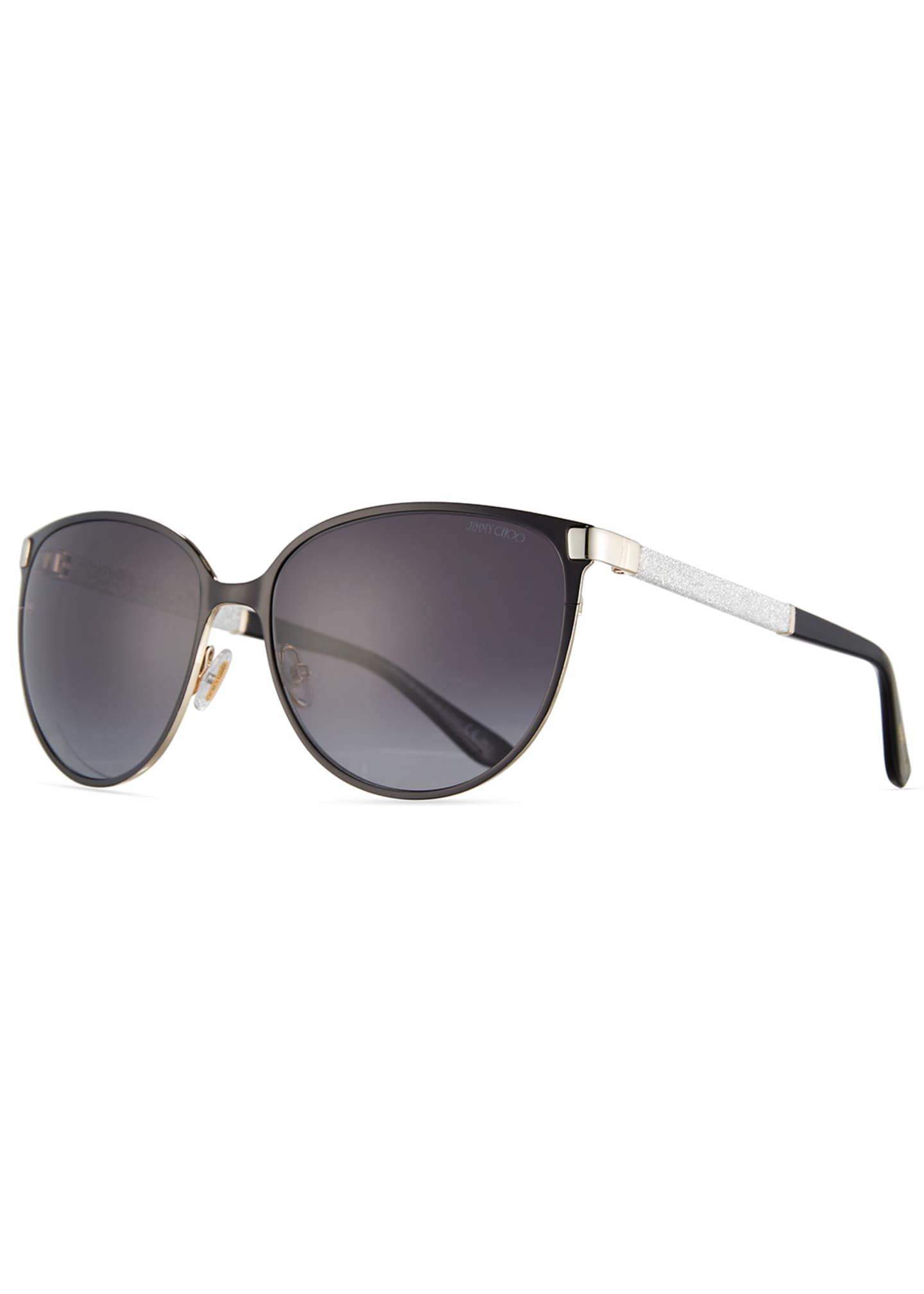 Jimmy Choo Posie Crystal-Temple Round Sunglasses, Black