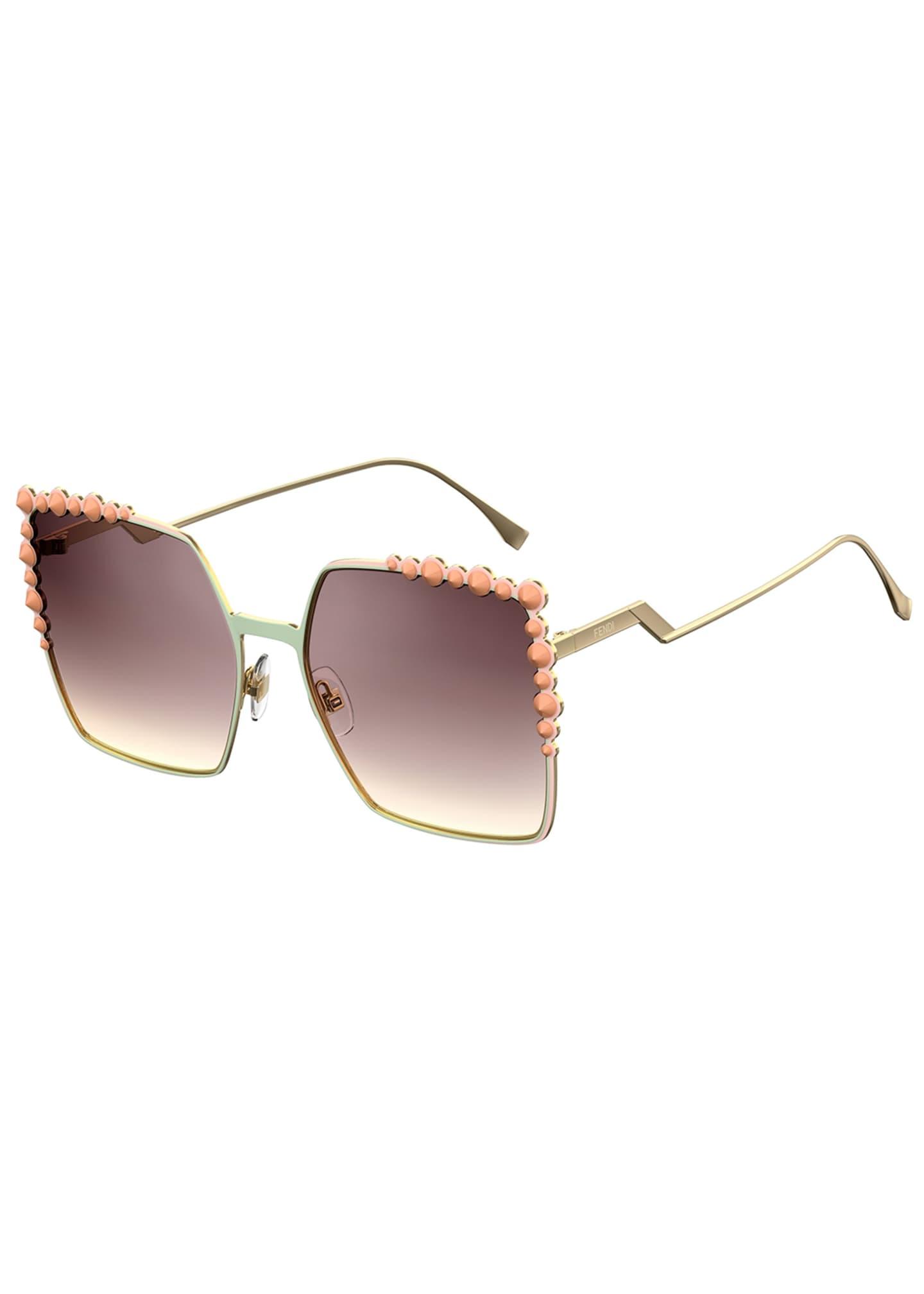 Fendi Can Eye Studded Oversized Square Sunglasses, Pink