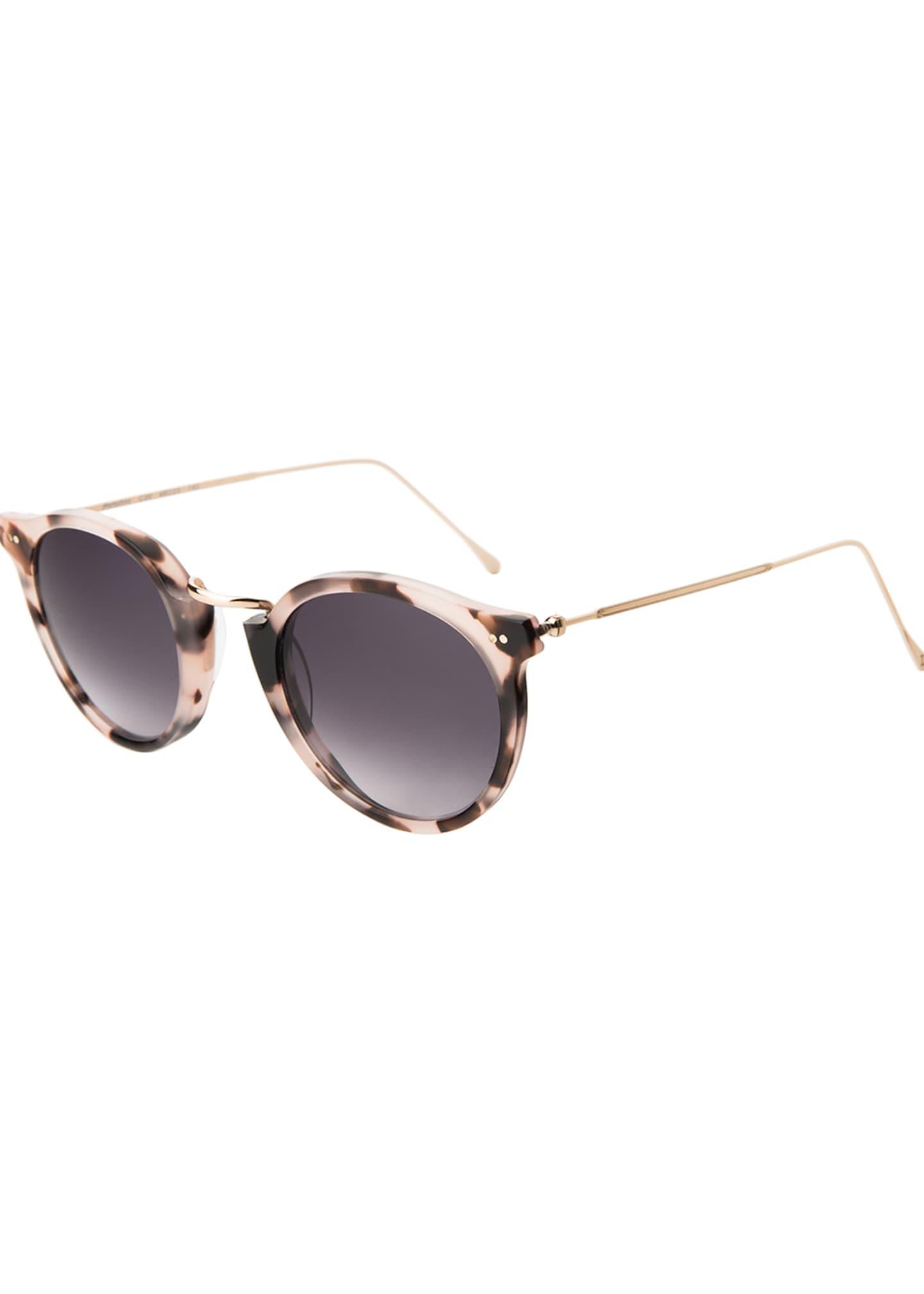 Illesteva Round Acetate & Steel Monochromatic Sunglasses