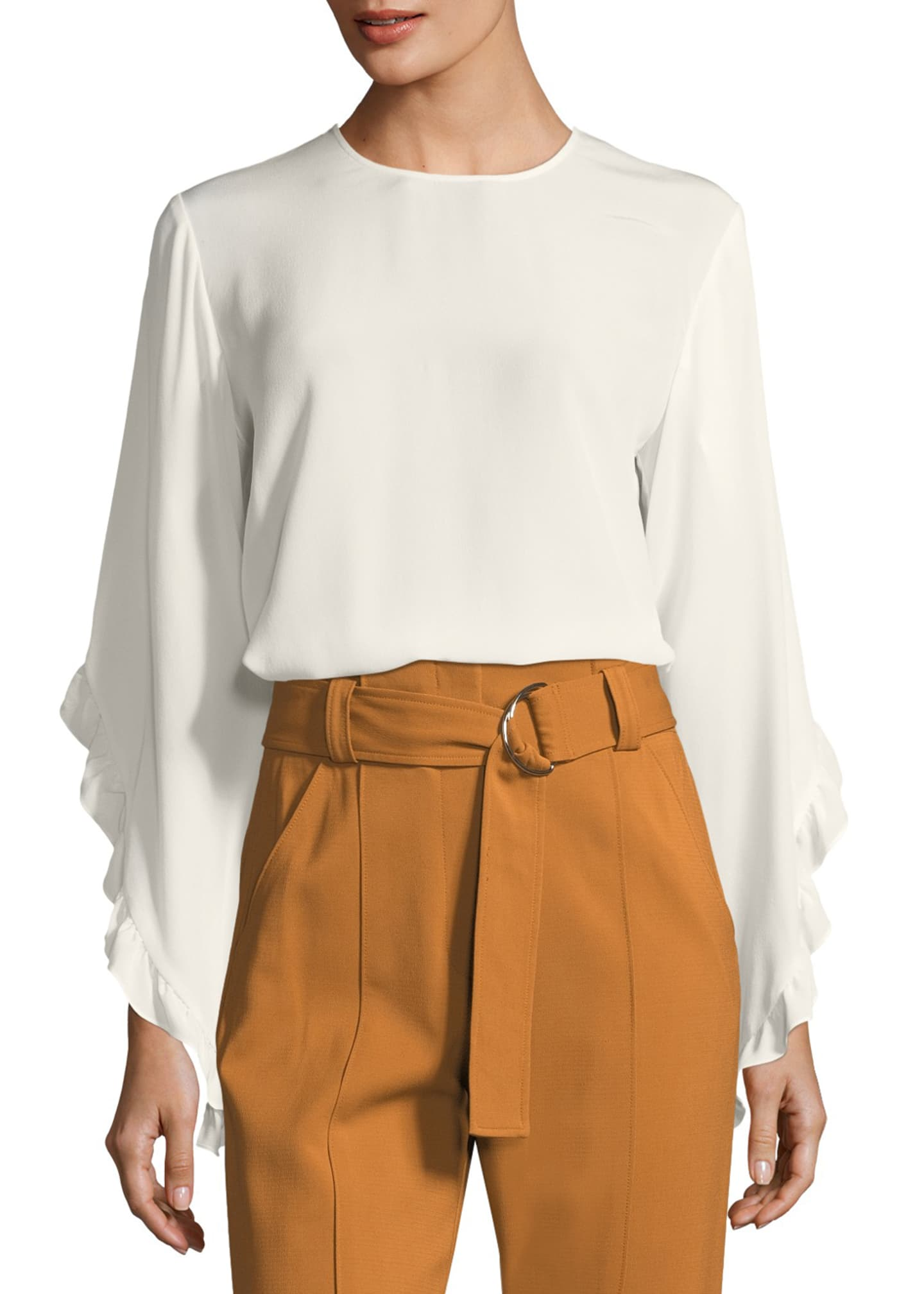 A.L.C. Hera Long-Sleeve Silk Top