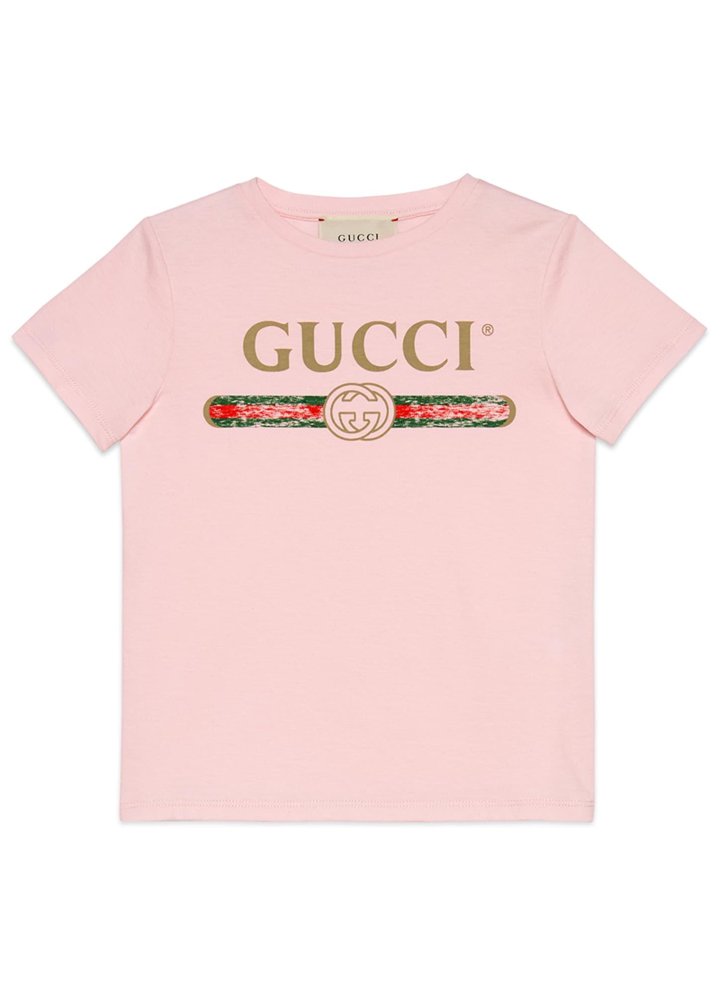 Gucci Girl's Vintage Logo Short-Sleeve Jersey T-Shirt, Size