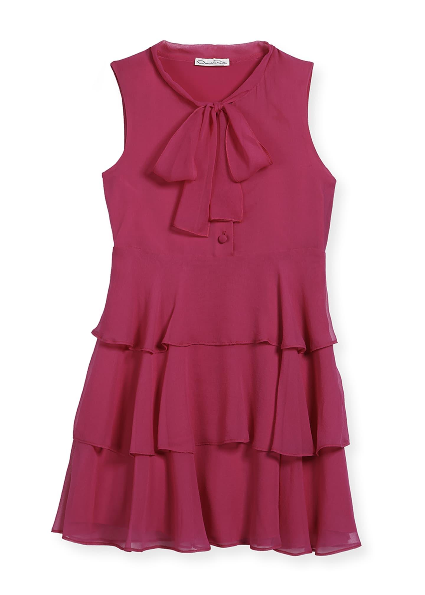 Oscar de la Renta Chiffon Bow Tiered Dress,