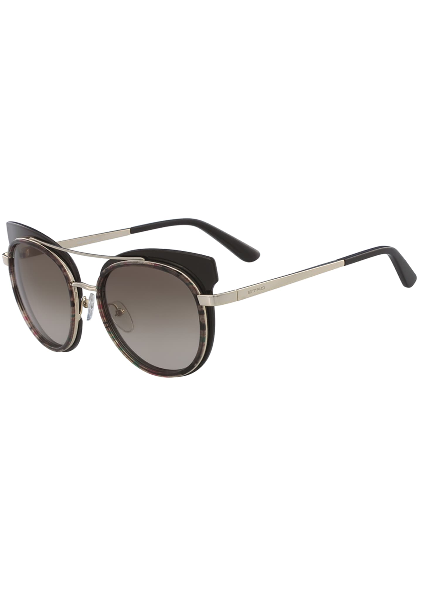 Etro Acetate & Metal Round Sunglasses