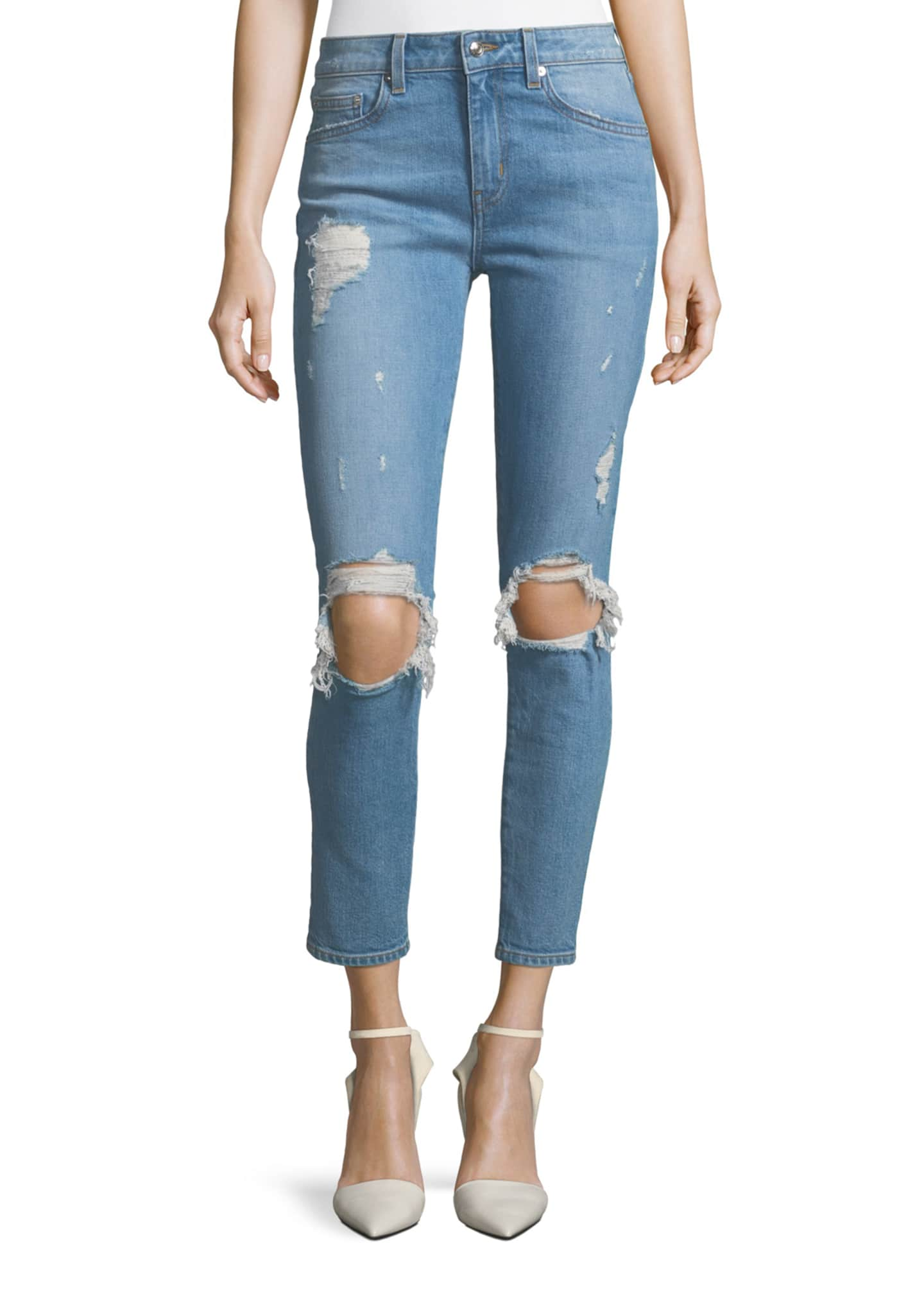 Image 1 of 3: Devi Distressed Mid-Rise Skinny Ankle Jeans