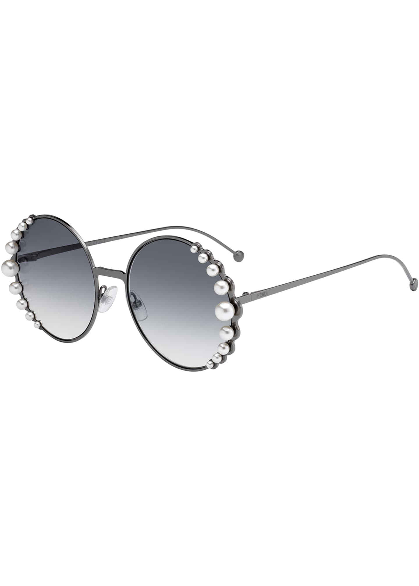 Fendi Round Metal Sunglasses w/ Pearly Trim