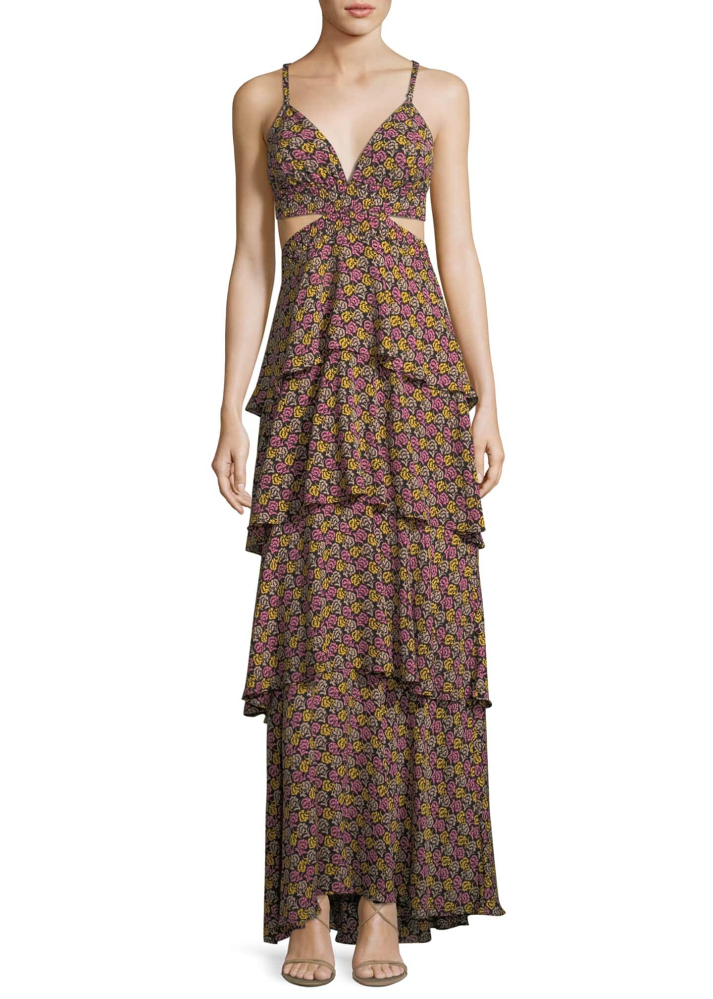 A.L.C. Titus Tiered Open-Waist Silk Maxi Dress