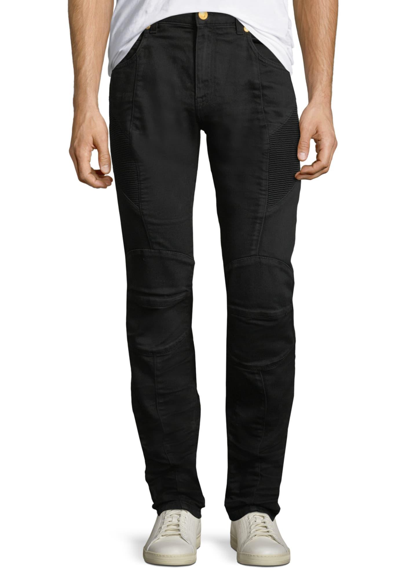 Pierre Balmain Solid Denim Biker Jeans