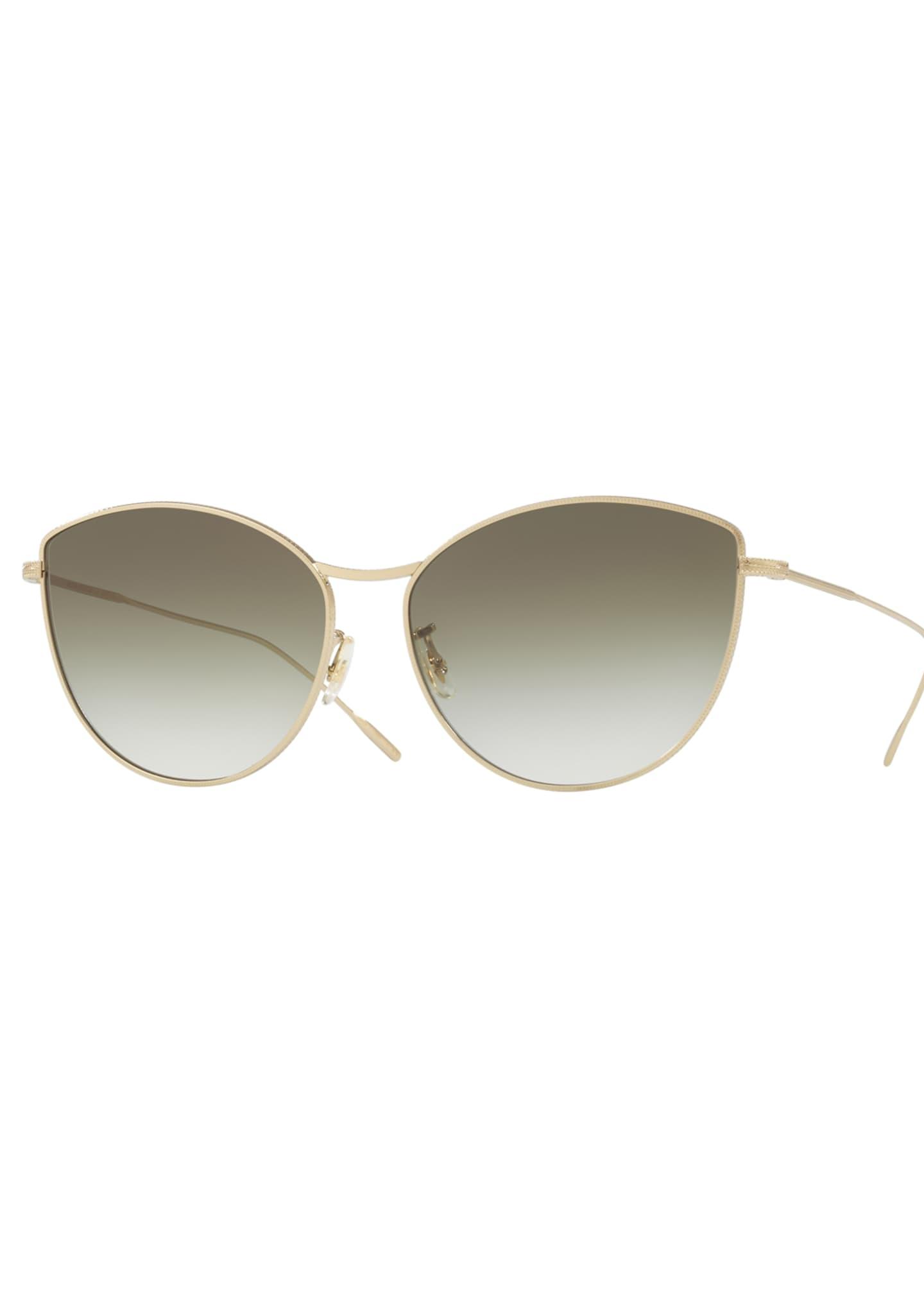Oliver Peoples Rayette Vintage-Inspired Metal Cat-Eye Sunglasses,