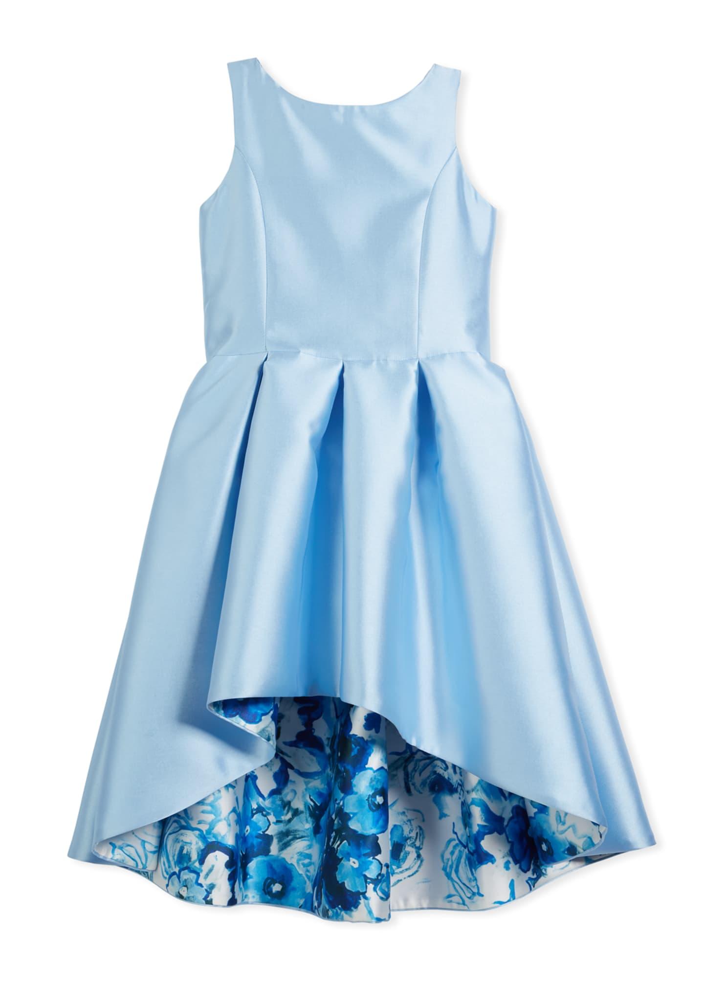 Zoe Matte Sateen Floral High-Low Dress, Size 7-16