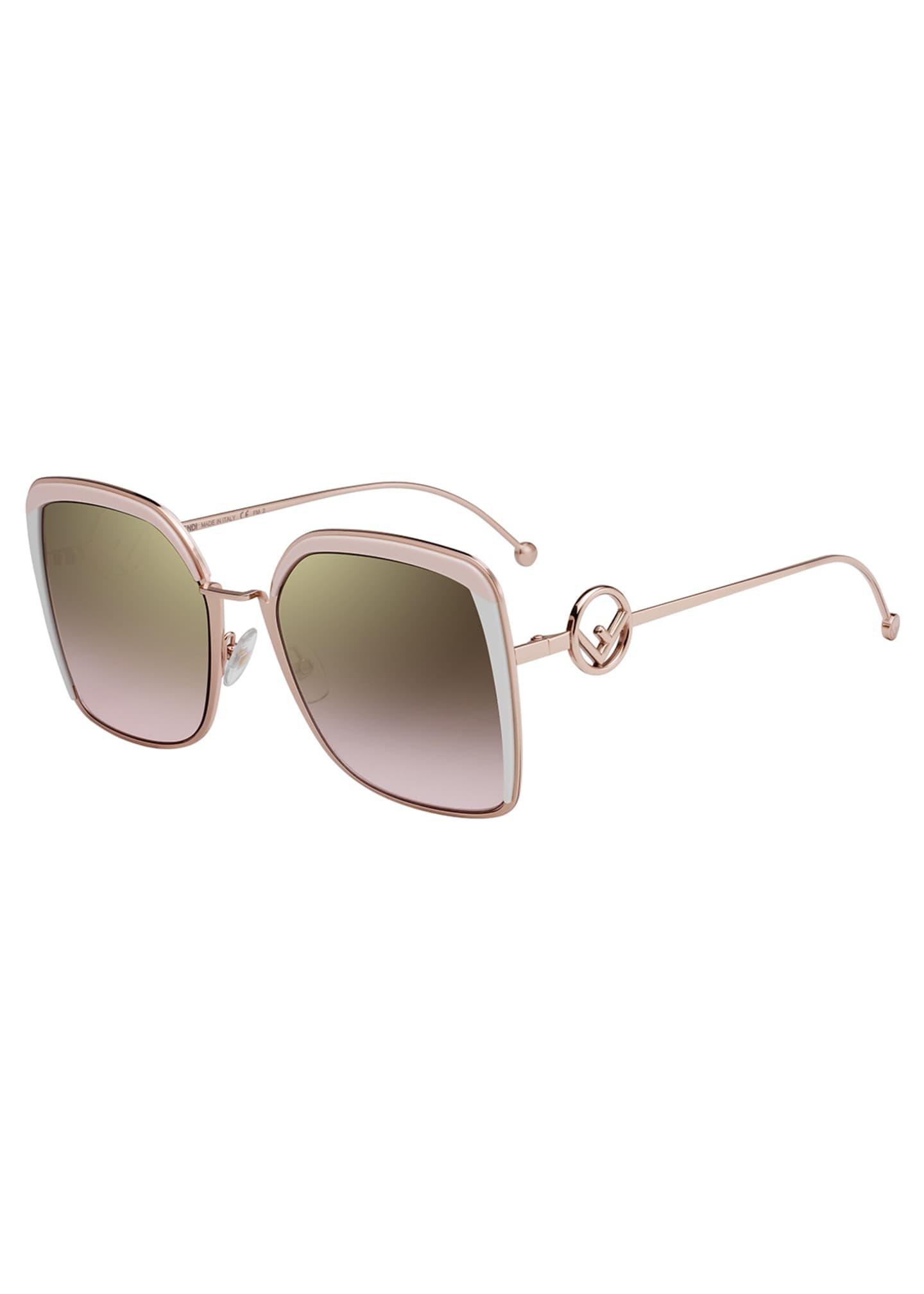 Fendi Metal Square Gradient Sunglasses