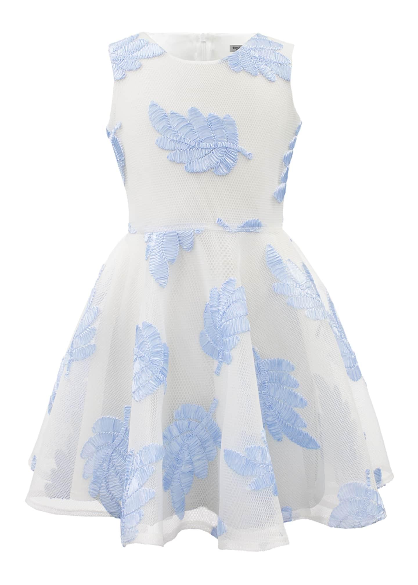 David Charles Sleeveless Leaf Applique Mesh-Overlay Dress, Size