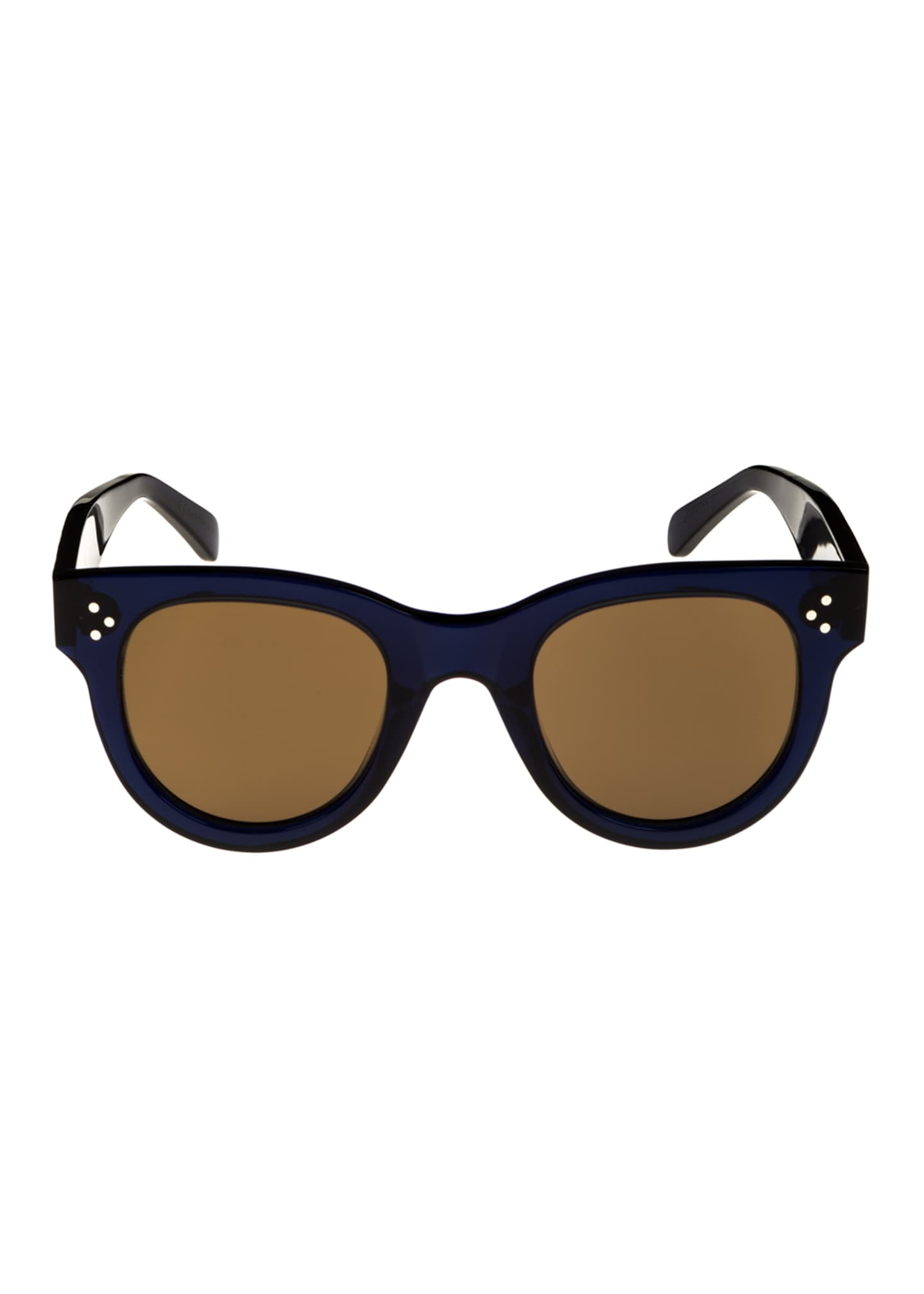 Image 2 of 2: Studded Round Acetate Sunglasses, Blue Pattern