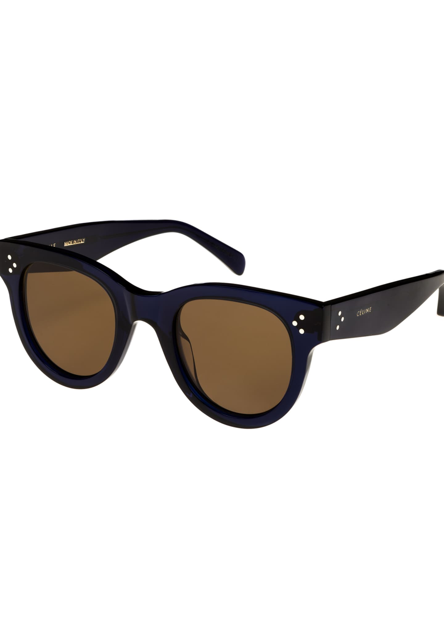 Image 1 of 2: Studded Round Acetate Sunglasses, Blue Pattern