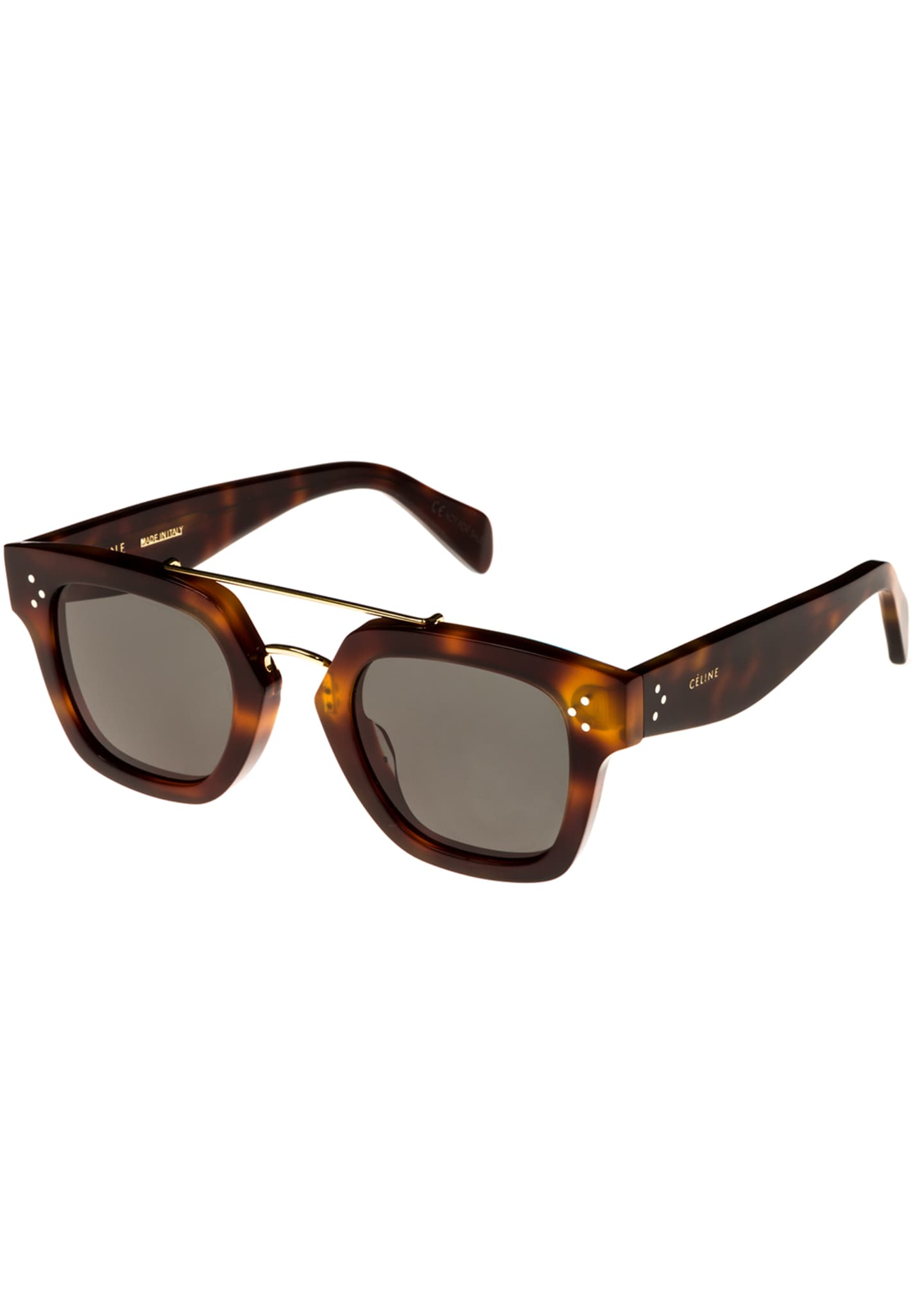 Celine Square Monochromatic Acetate & Metal Sunglasses, Brown