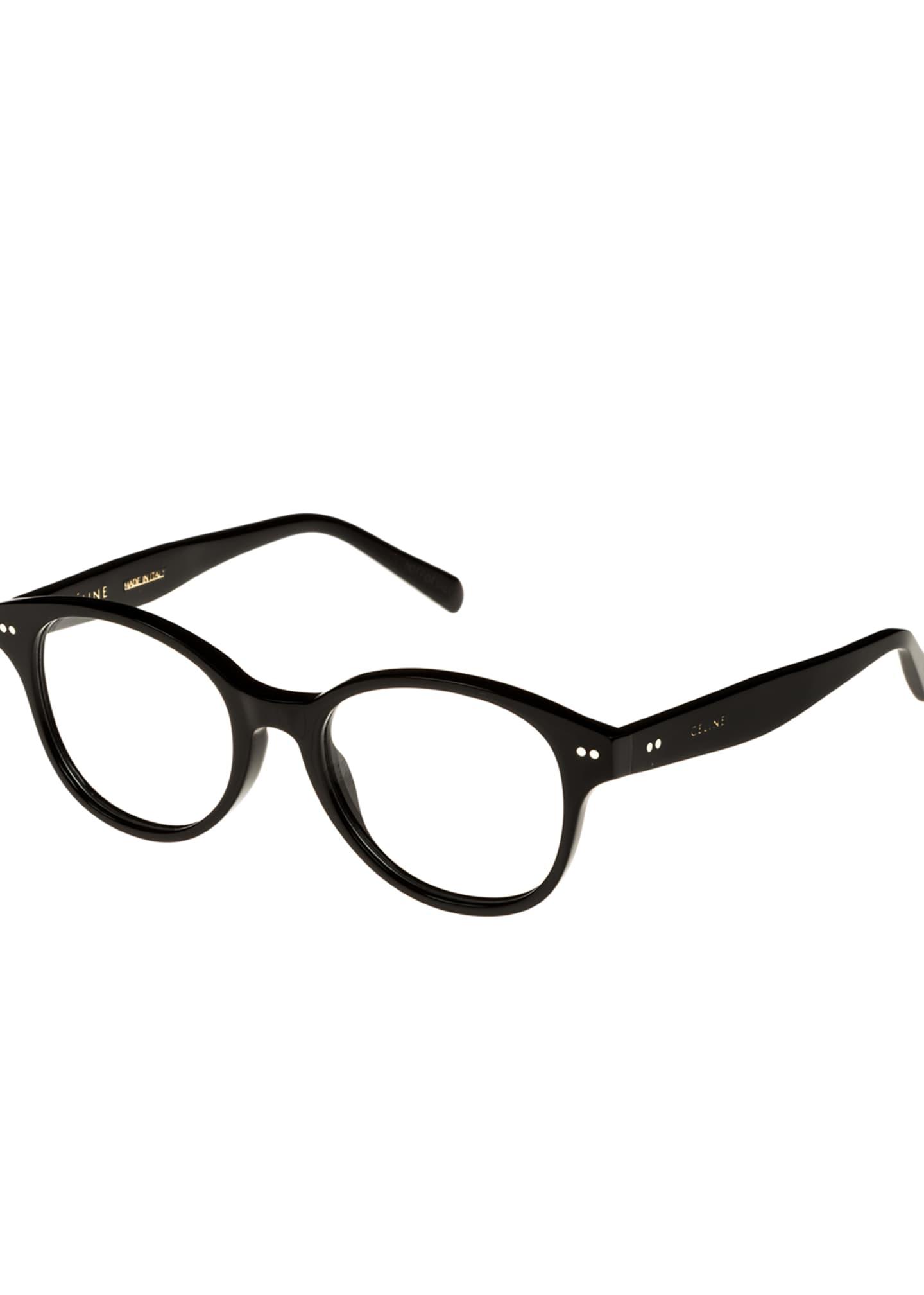 Celine Round Acetate Optical Frames, Black