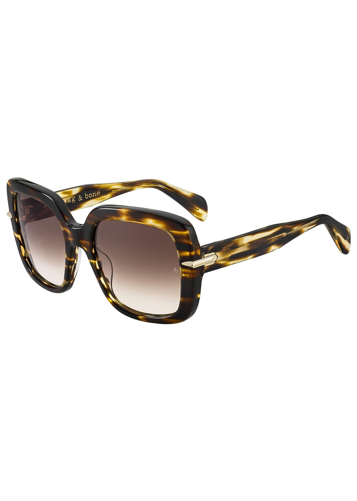 Rag & Bone Square Gradient Acetate Sunglasses w/