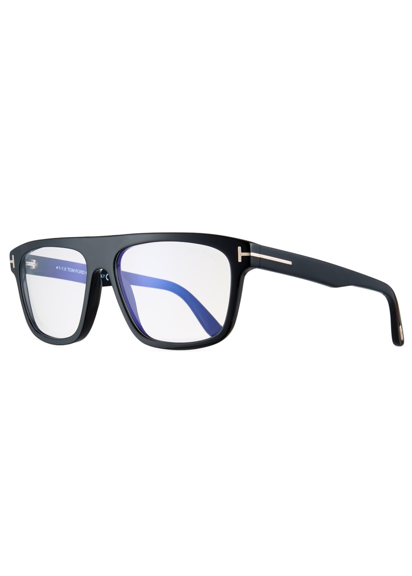 TOM FORD Men's Rectangular Acetate Eyeglasses, Black