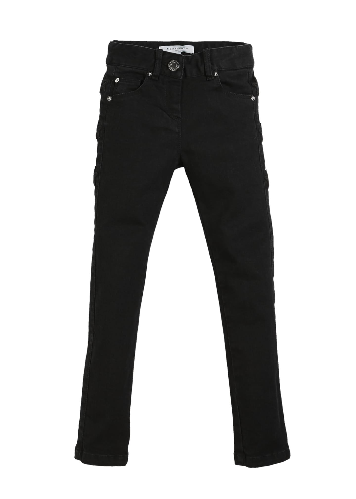 Givenchy Slim-Fit Leather-Trim Denim Pants, Size 12-14