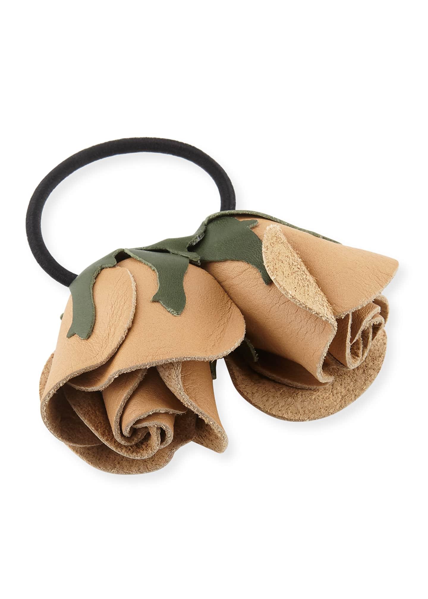 Epona Valley Double Rose Leather Ponytail Holder