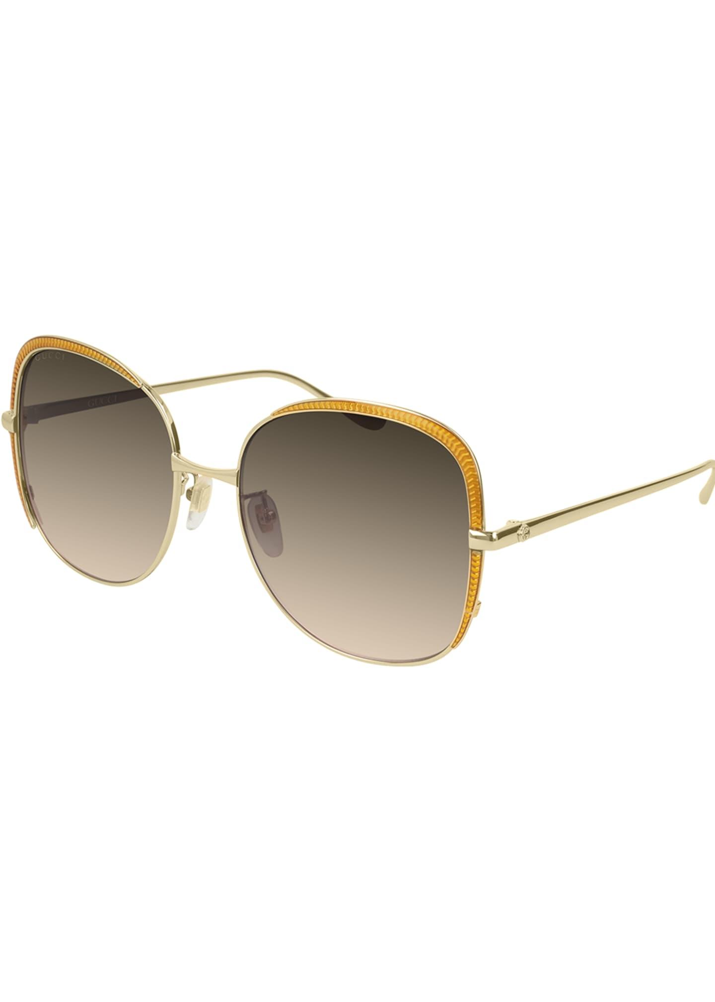 Gucci Square Metal Contrast-Front Sunglasses
