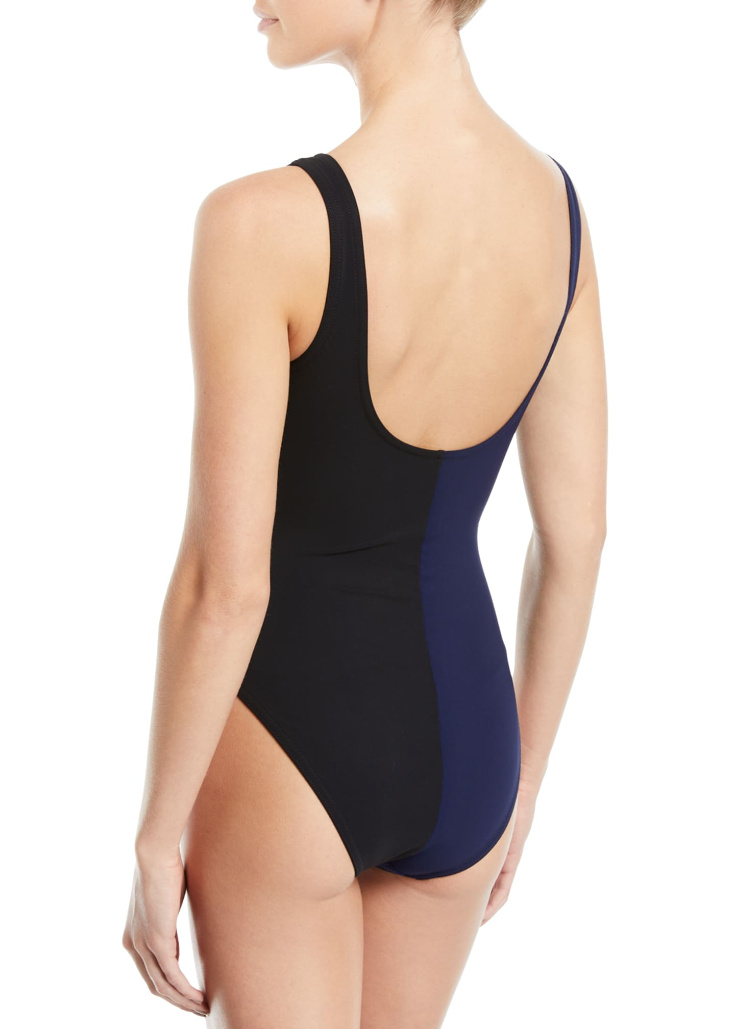 Image 2 of 2: Sorella Colorblock V-Neck Underwire One-Piece Swimsuit