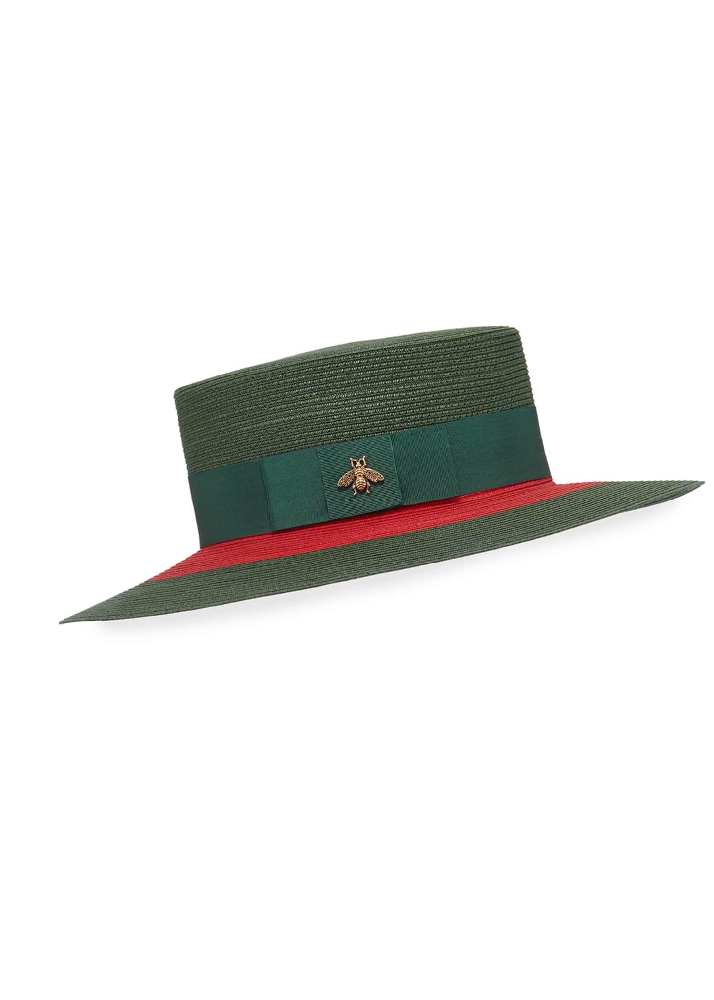 Gucci Green & Red Woven Hat w/ Bee