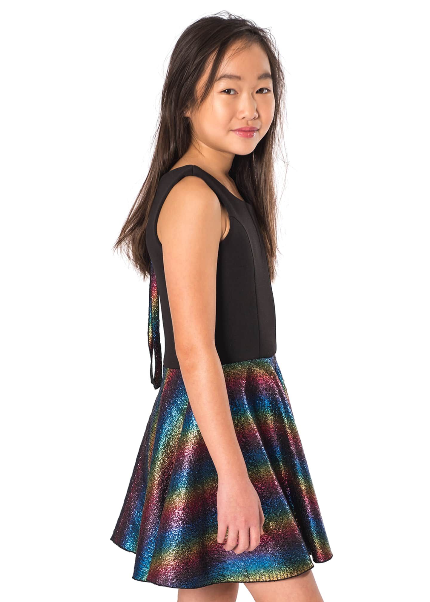 Image 2 of 2: Sleeveless Dress with Foil Rainbow Skirt, Size 7-16
