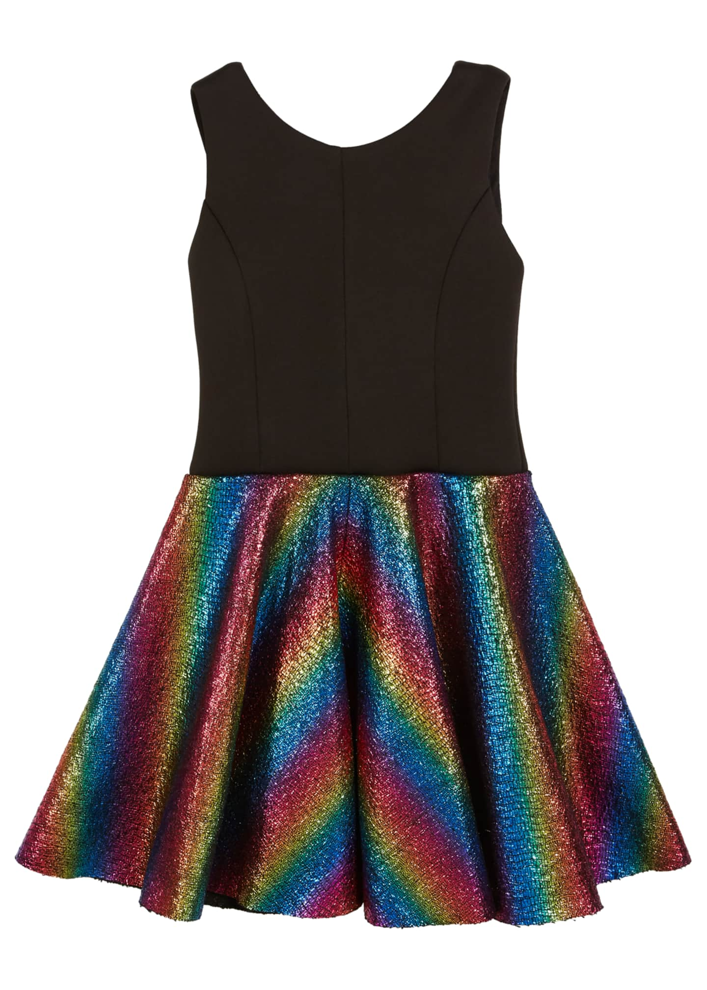 Sleeveless Dress with Foil Rainbow Skirt, Size 7-16