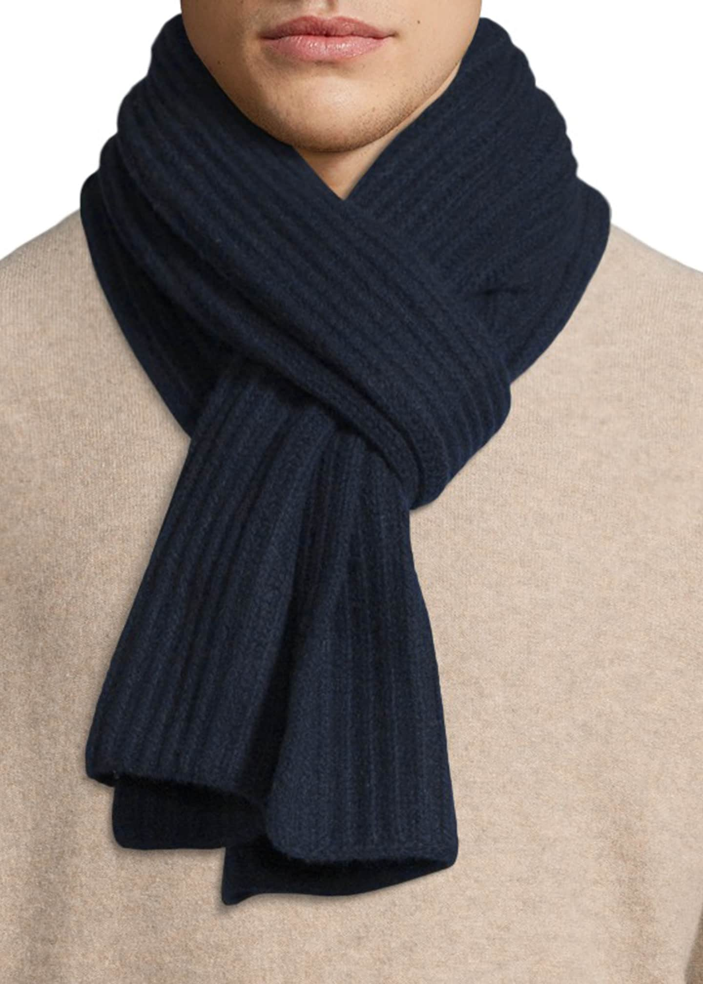 Image 1 of 3: Ribbed Cashmere Scarf, Navy