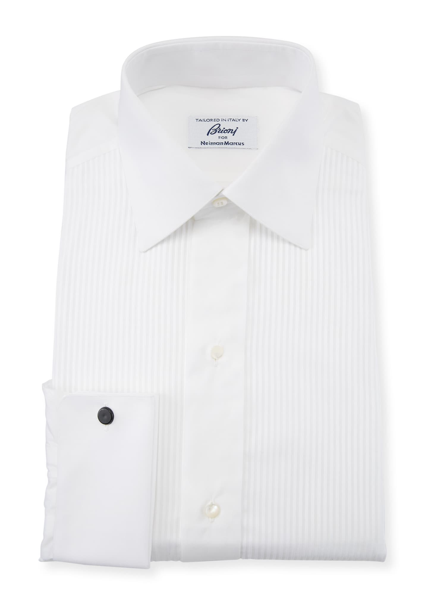 Brioni Men's Barron Pleated Tuxedo Shirt