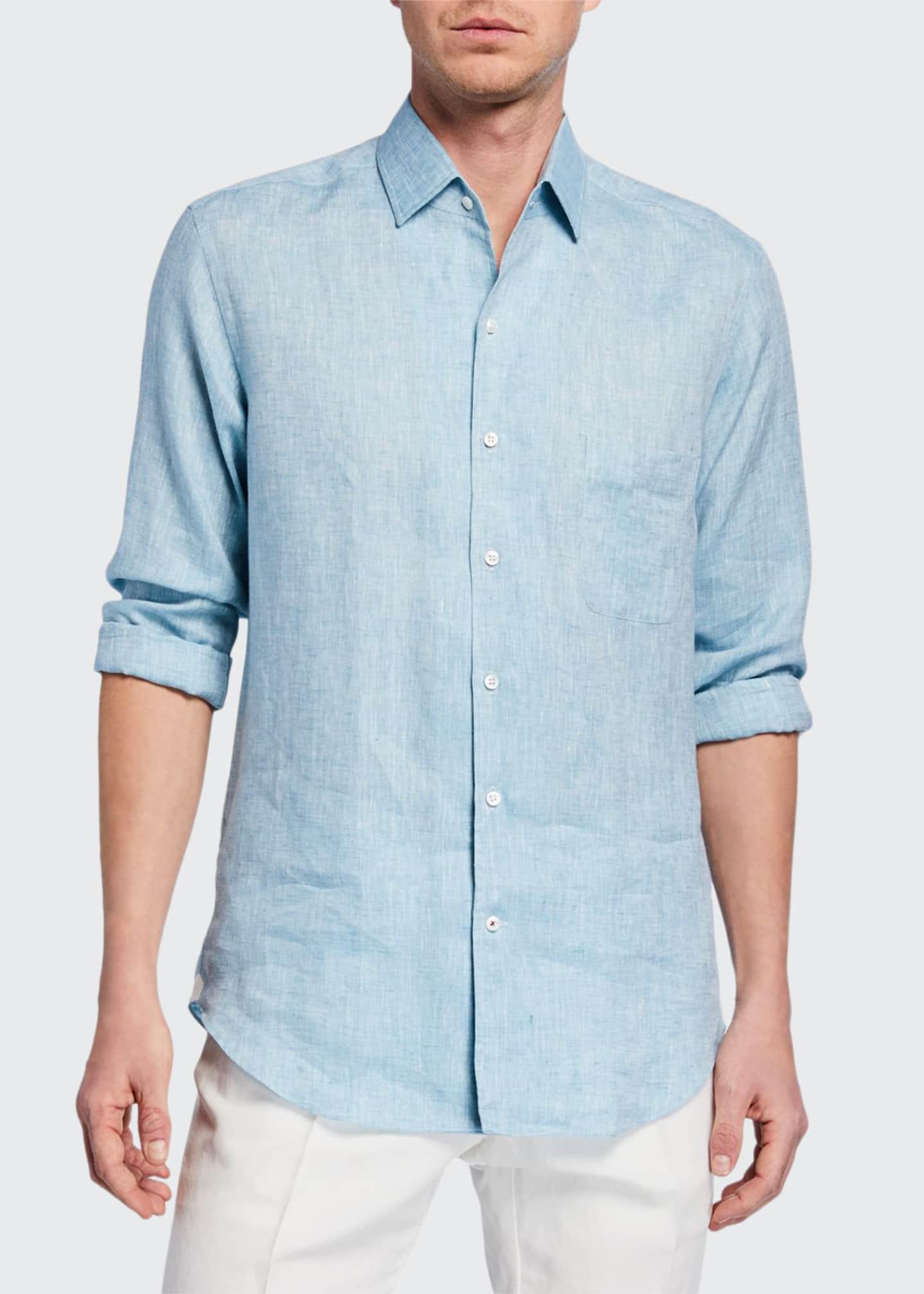 Loro Piana Men's Andrew Long-Sleeve Linen Shirt