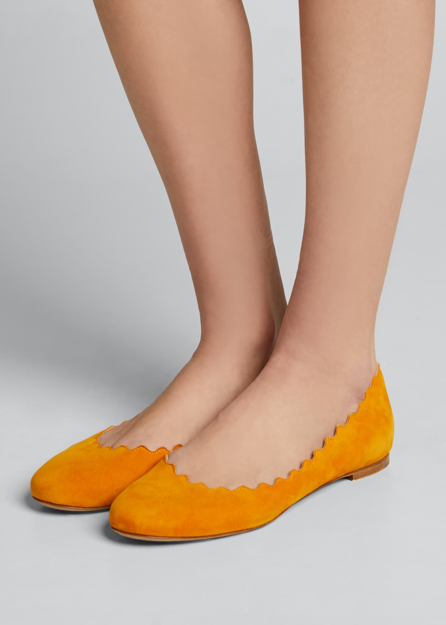 Image 2 of 3: Lauren Scalloped Suede Ballet Flats