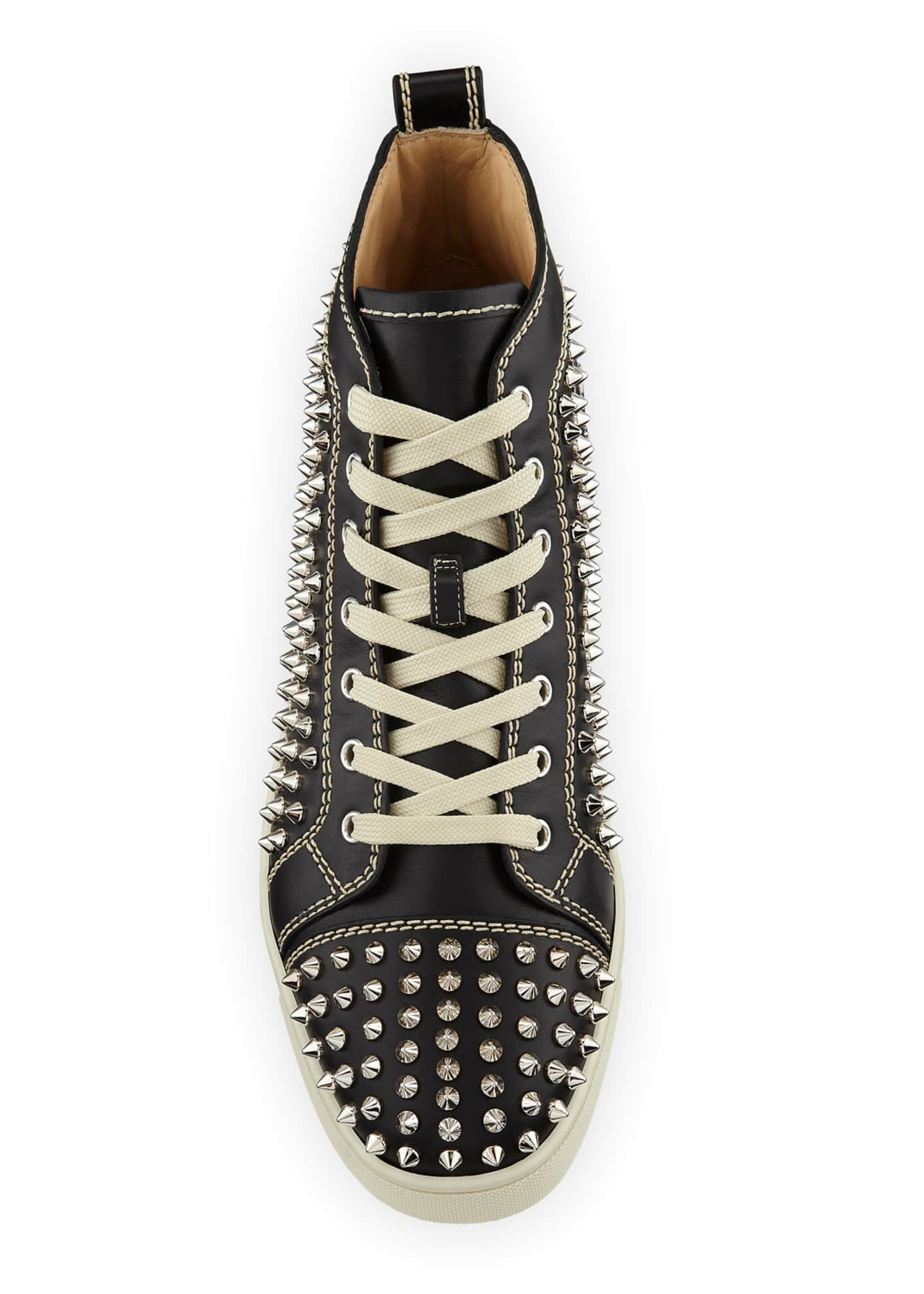 Image 2 of 4: Men's Louis Mid-Top Spiked Leather Sneakers