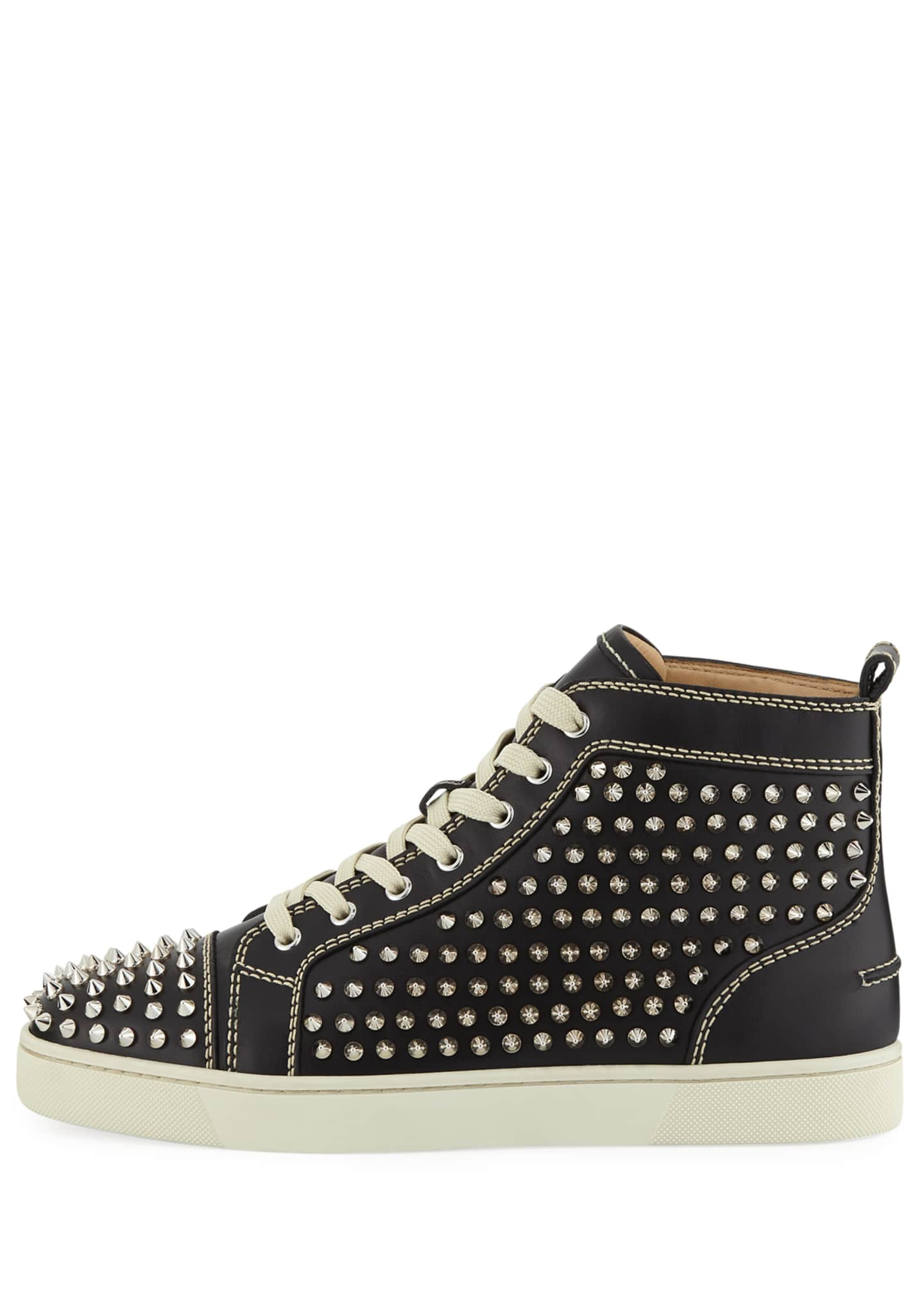 Image 3 of 4: Men's Louis Mid-Top Spiked Leather Sneakers