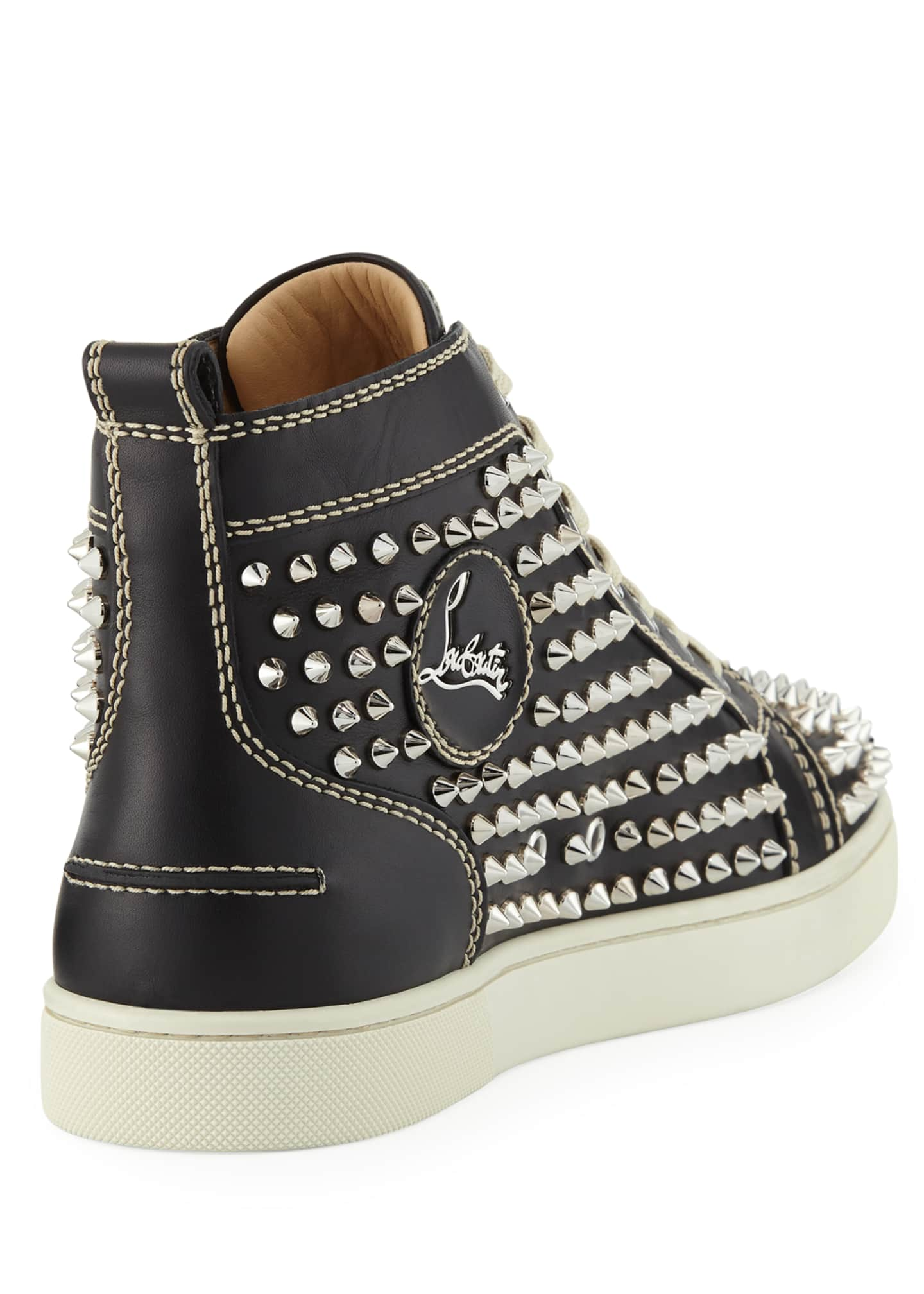 Image 4 of 4: Men's Louis Mid-Top Spiked Leather Sneakers
