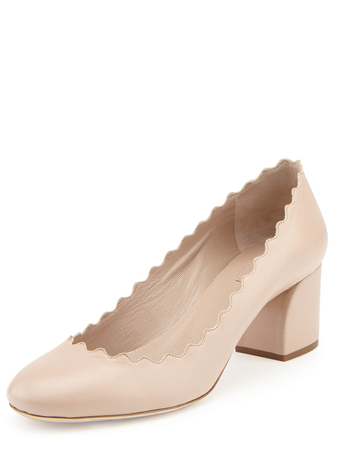 Image 1 of 1: Scalloped Leather Pumps, Light Pink