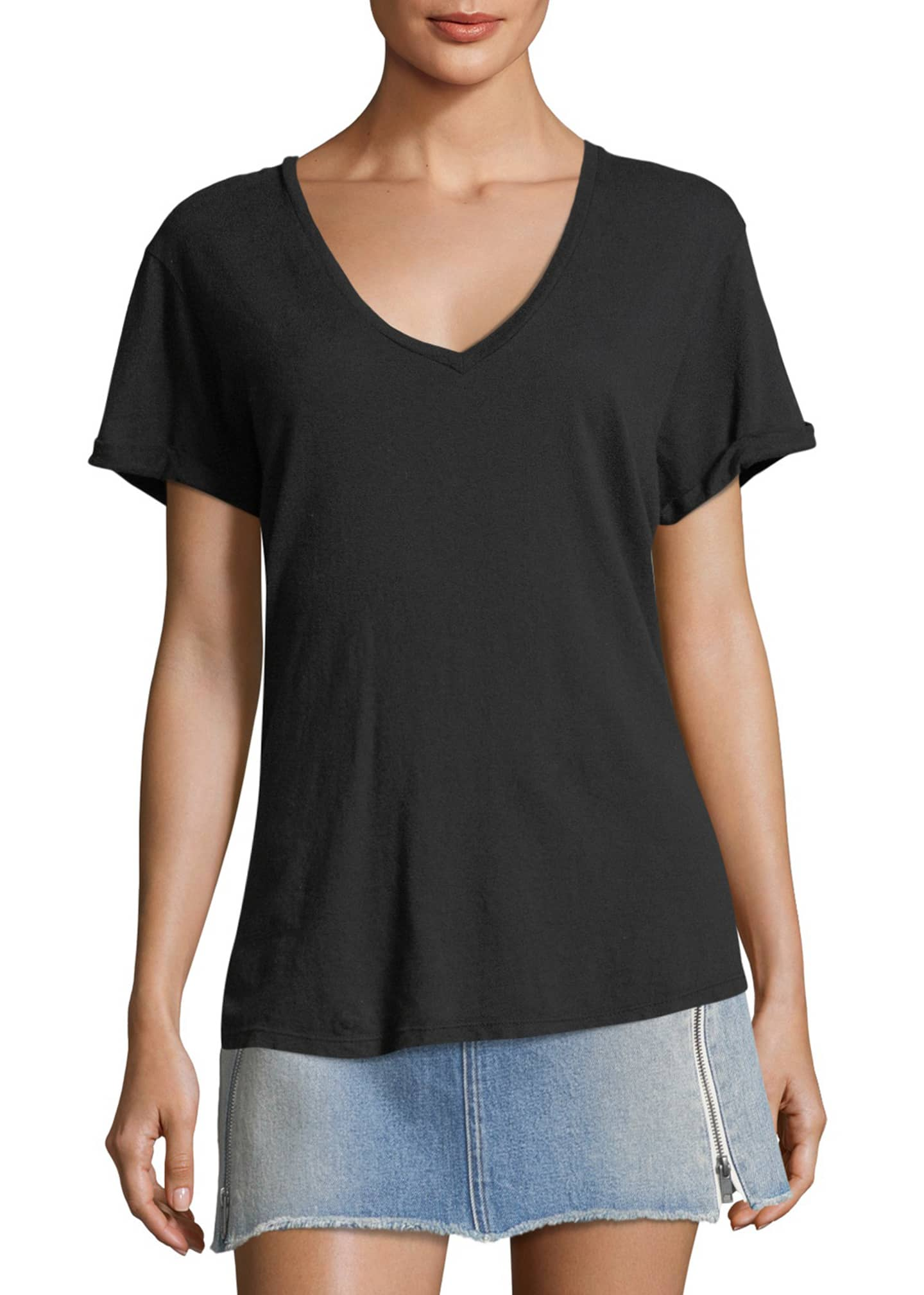 Image 3 of 3: Deep-V Cuffed Short-Sleeve Cotton Tee
