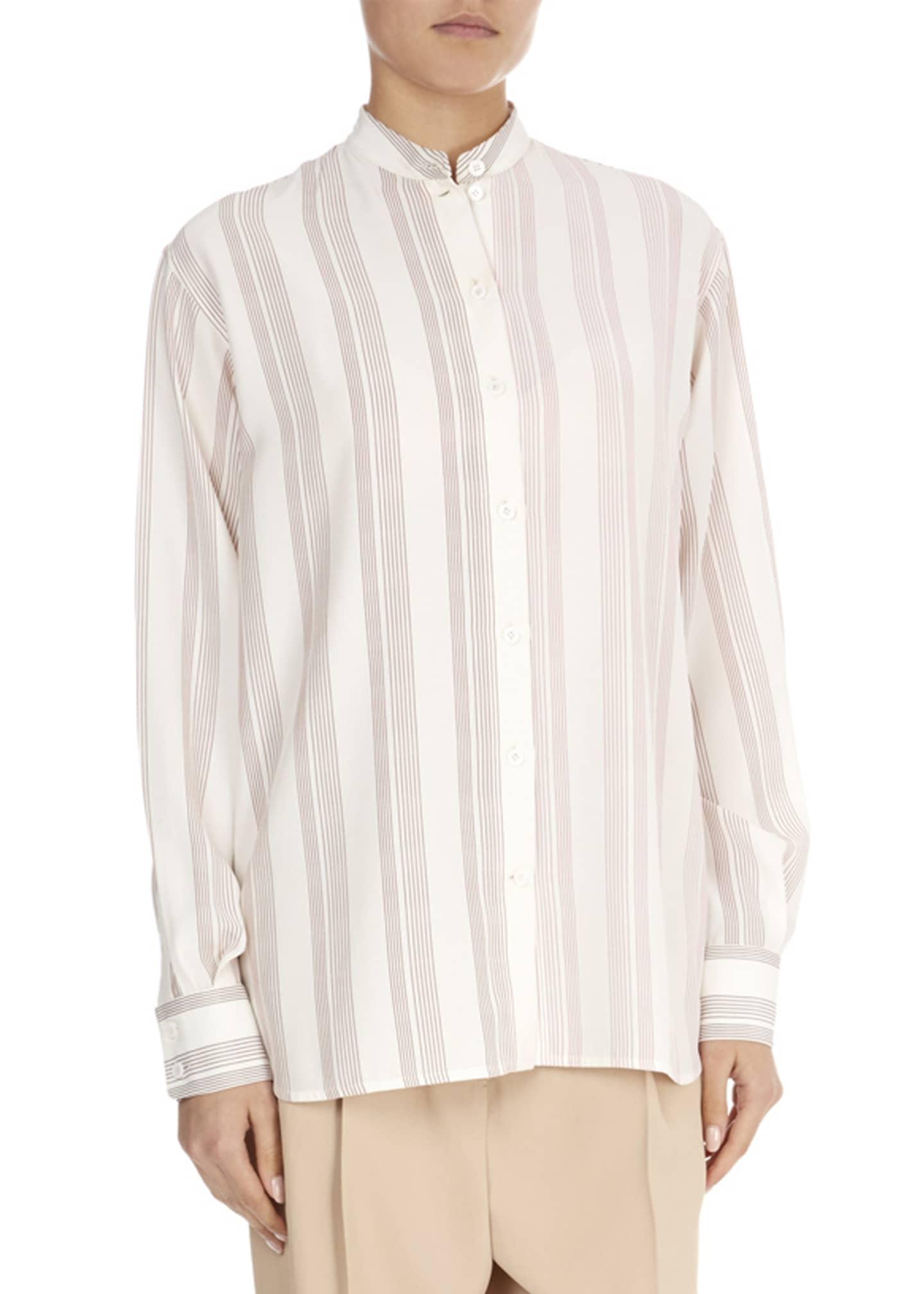 Victoria Beckham Silk Striped Grandad Top
