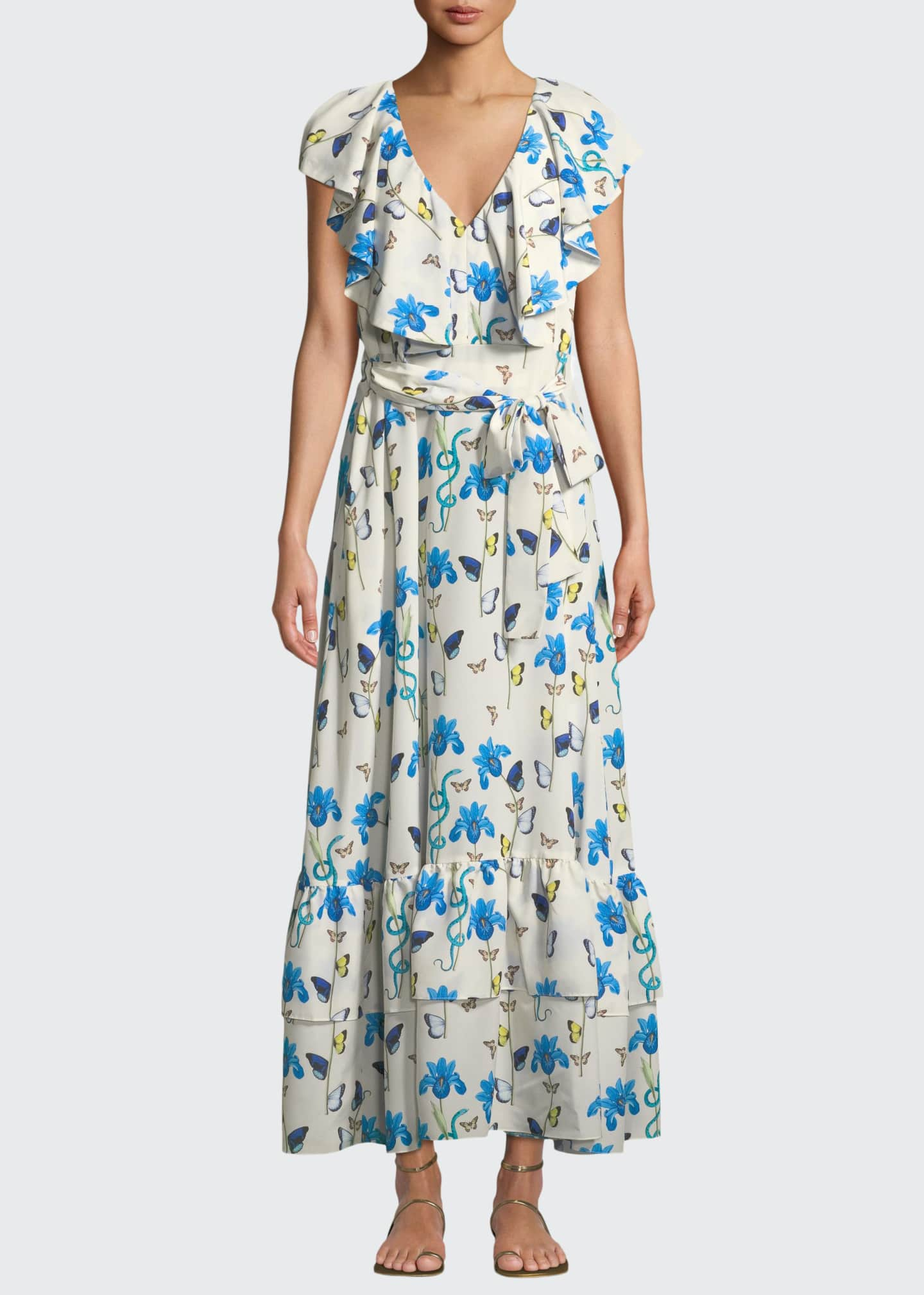 top fashion sports shoes cheap Borgo de Nor V-Neck Sleeveless Butterfly & Iris-Print Maxi Dress ...
