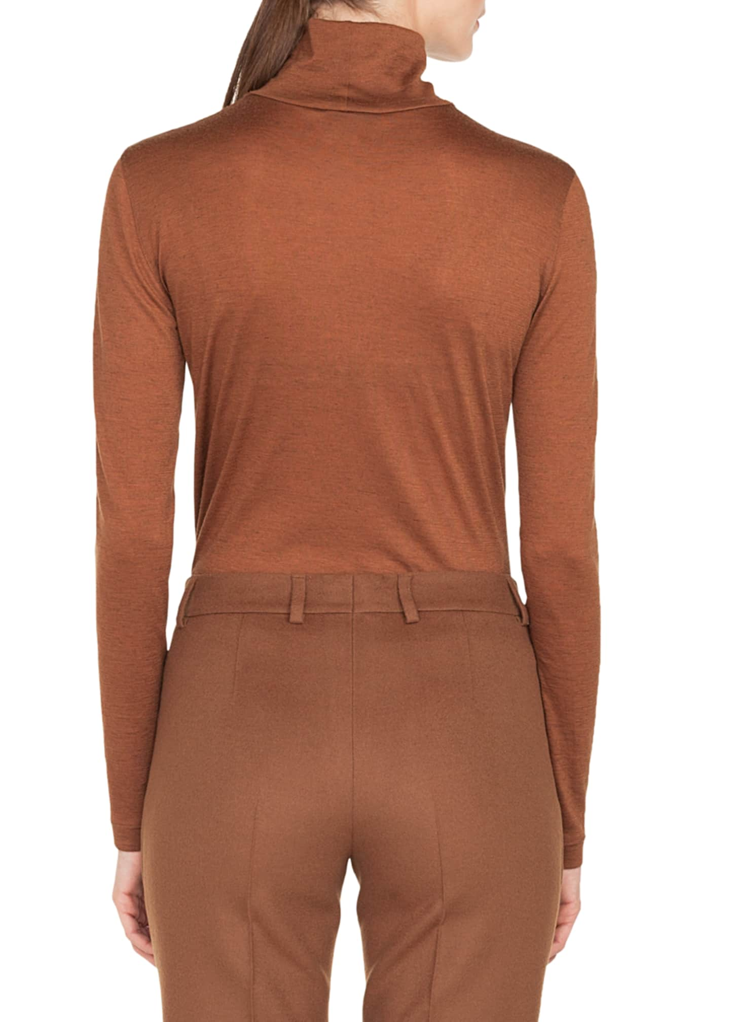 Image 2 of 2: Turtleneck Long-Sleeve Cashmere-Silk Jersey Pullover Top