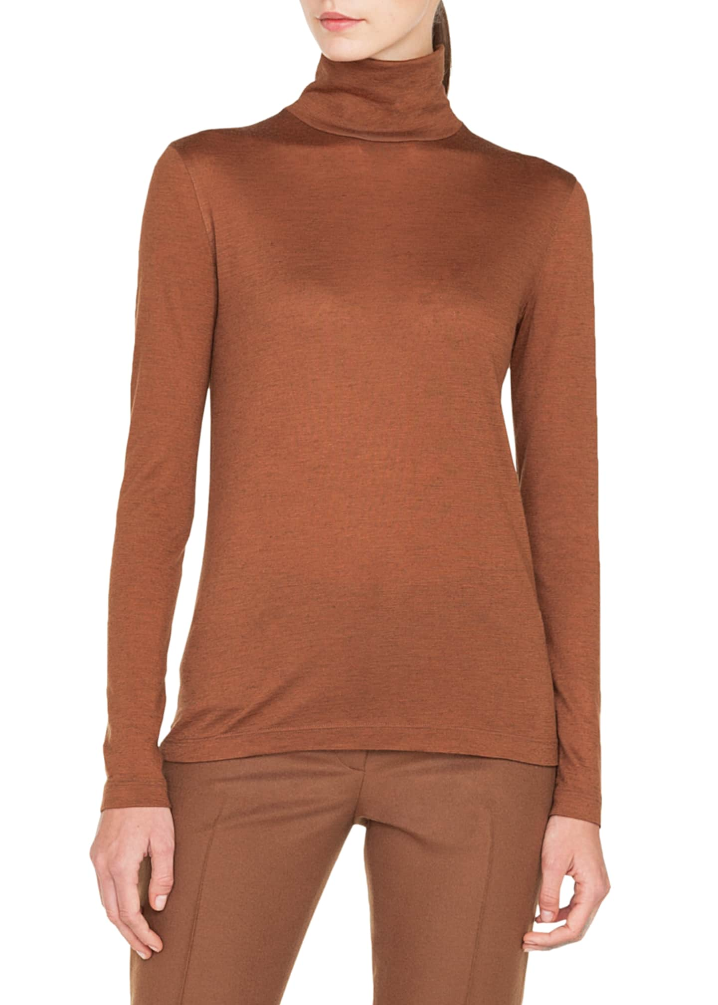 Image 1 of 2: Turtleneck Long-Sleeve Cashmere-Silk Jersey Pullover Top