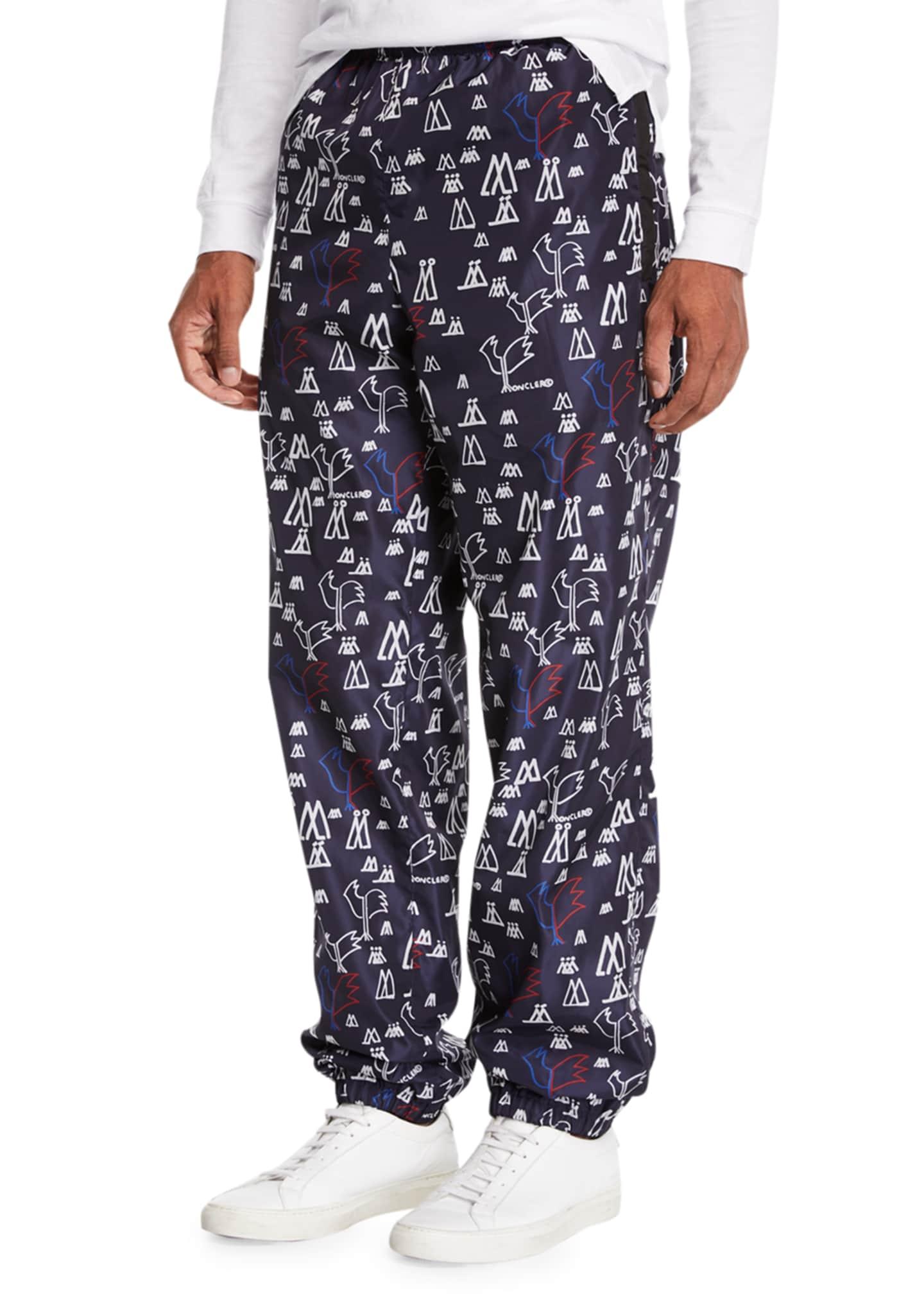 Moncler Men's Pop Print Nylon Athletic Pants