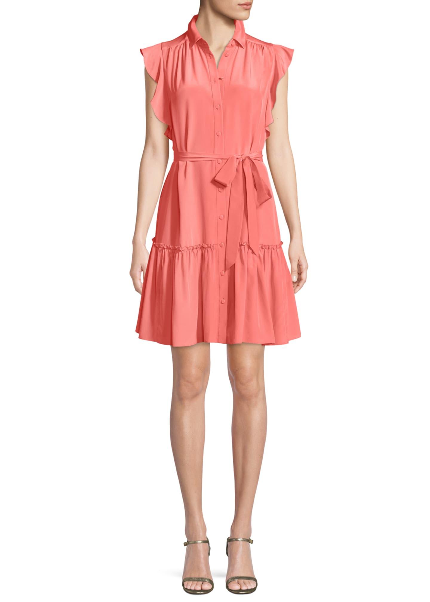 kate spade new york silk dress w/ ruffle