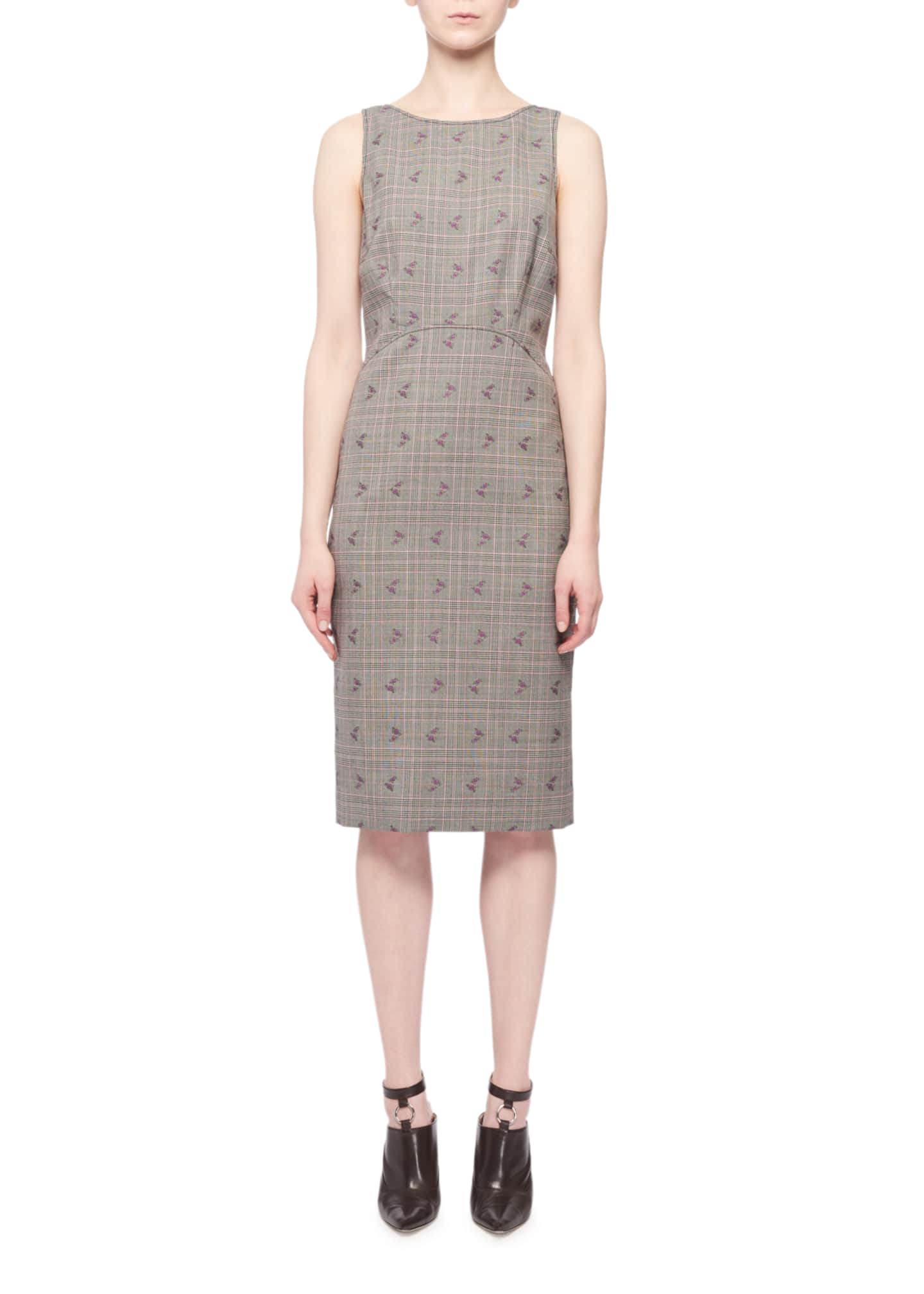 Altuzarra Sleeveless Floral-Embroidered Prince of Wales Sheath