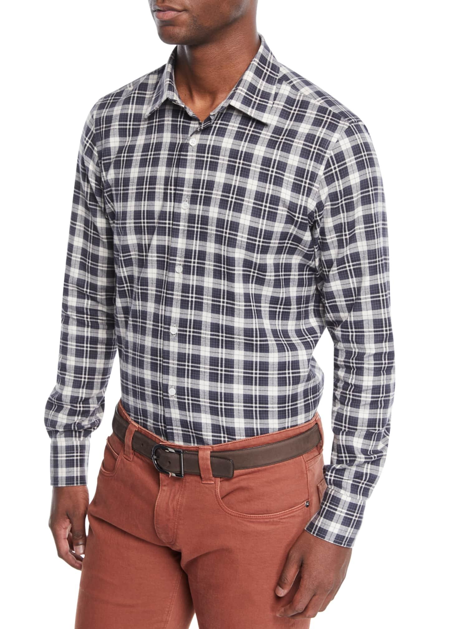 Loro Piana Men's Arthur Plaid Linen Sport Shirt